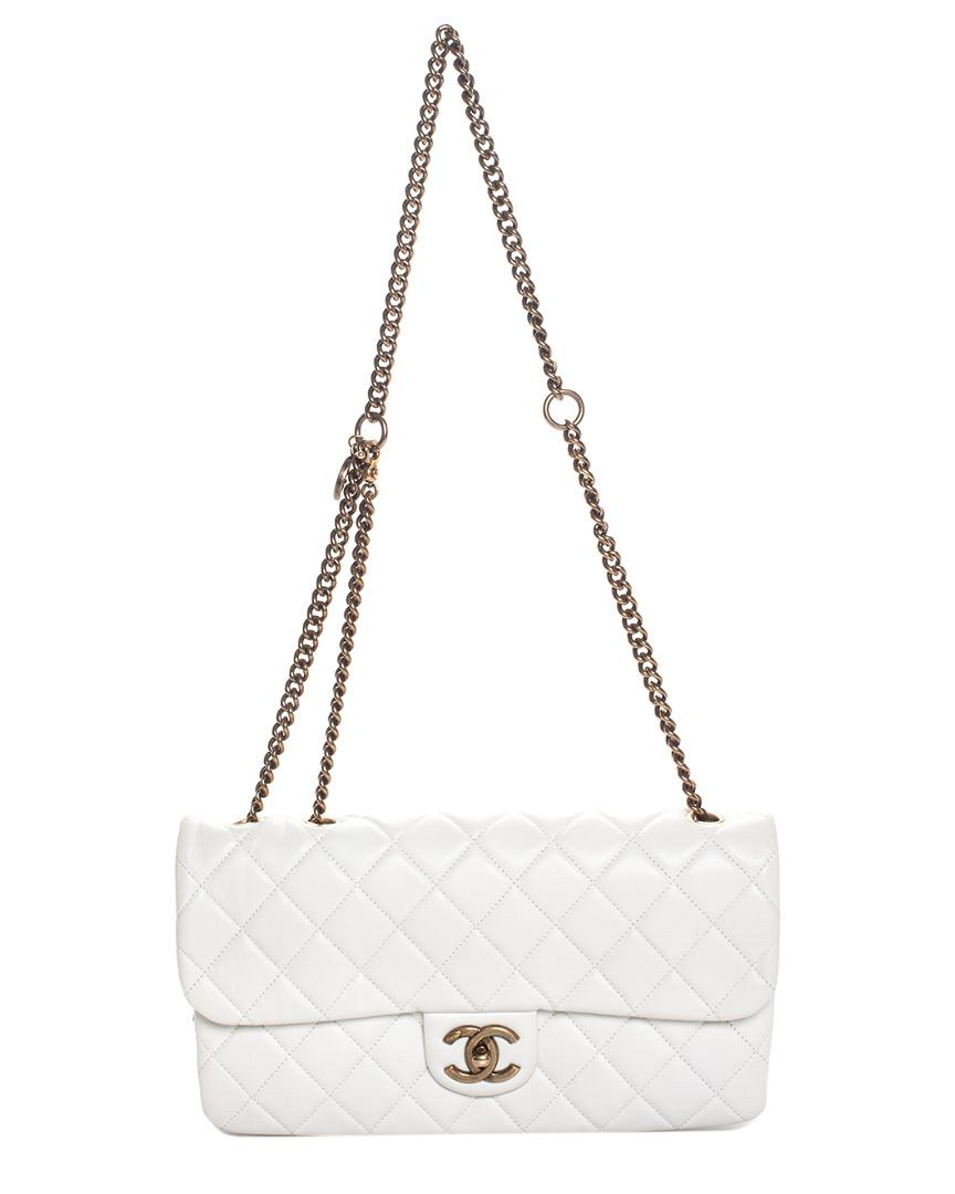 d32e73b1f115 Lyst - Chanel White Quilted Caviar Leather Medium Single Flap Bag in ...