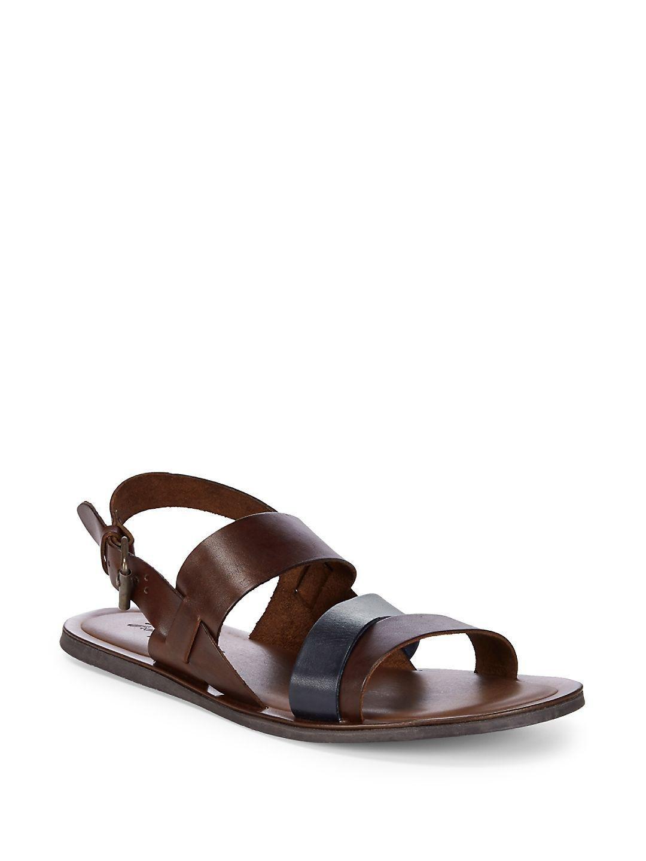 Massimo Matteo. Men's Brown Leather Strap Sandals