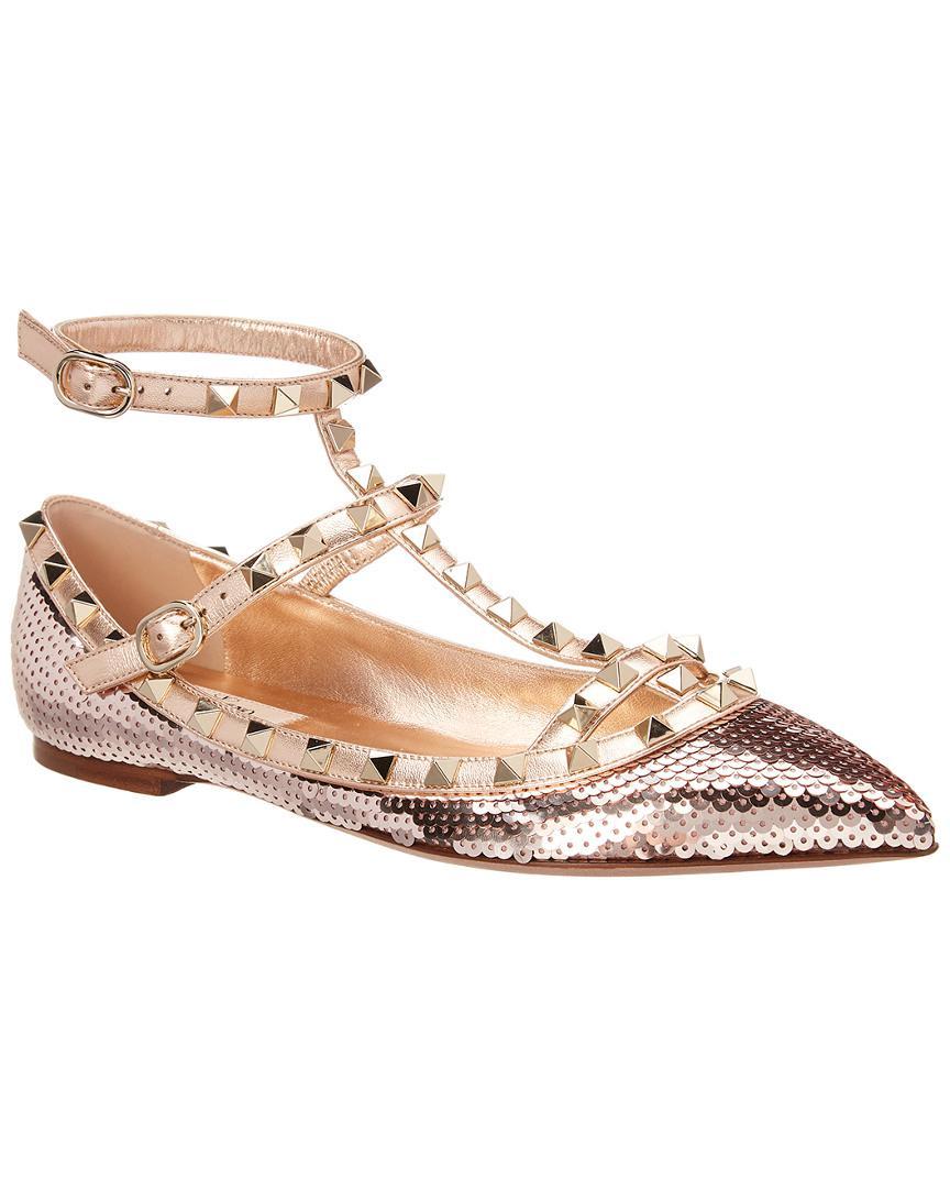 971249c23855 Lyst - Valentino Cage Rockstud Sequin Ballerina Flat in Pink