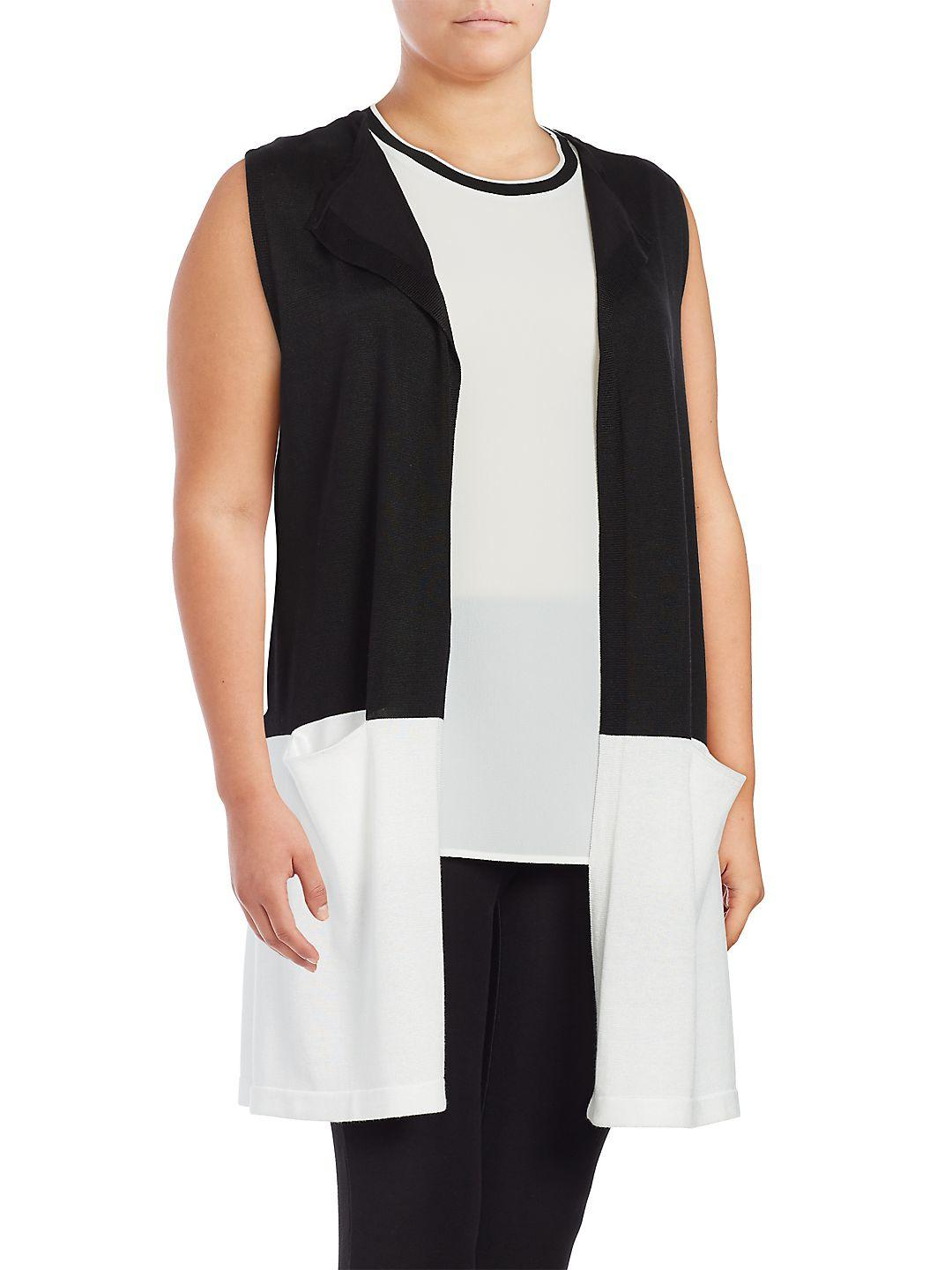 14358417928f1 Lyst - Vince Camuto Colorblocked Sleeveless Duster Vest in Black