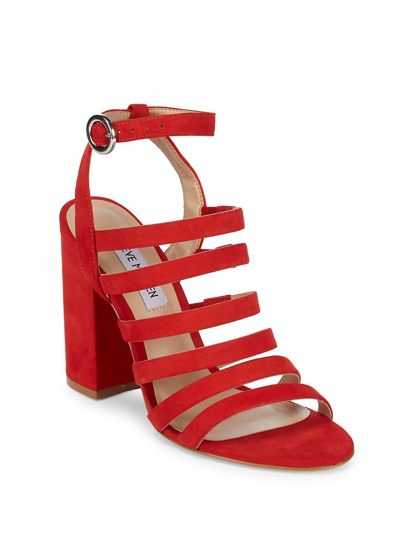 804df628890 Lyst - Steve Madden Block-heel Cage Sandals in Red
