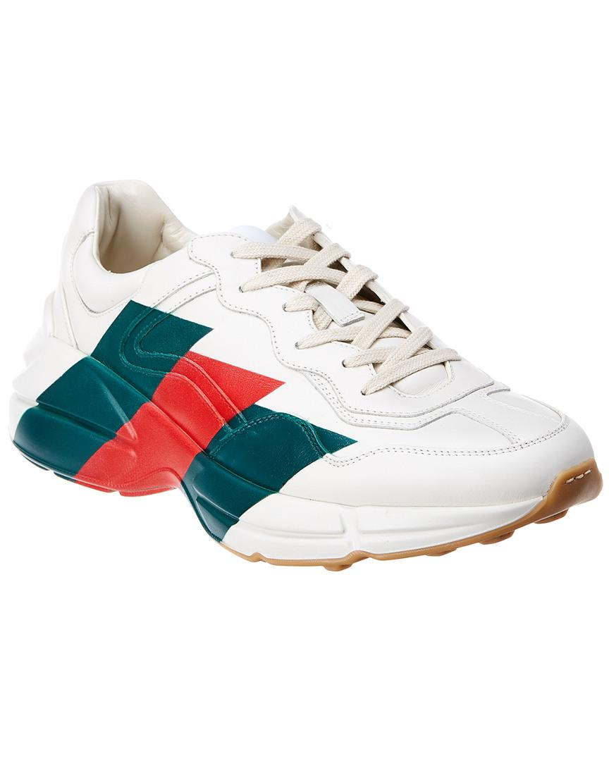 Lyst - Gucci Rhyton Leather Sneaker in White for Men bbcceb5309e57
