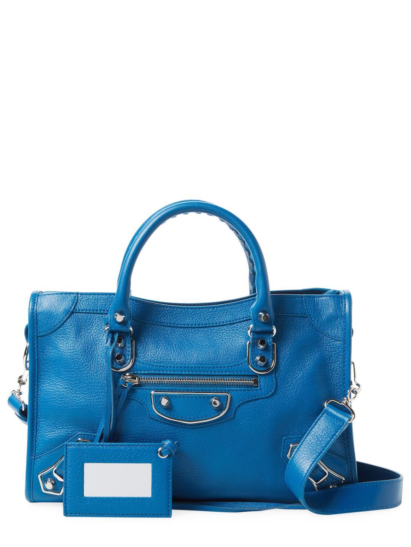 Balenciaga Metallic Edge City Small Leather Satchel in Blue - Lyst e618b206c7b