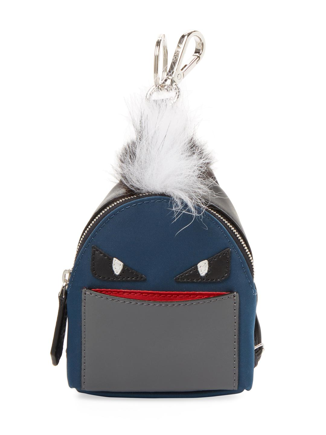 Lyst - Fendi Leather Patch Key Holder in Blue 2d55f4936ed91