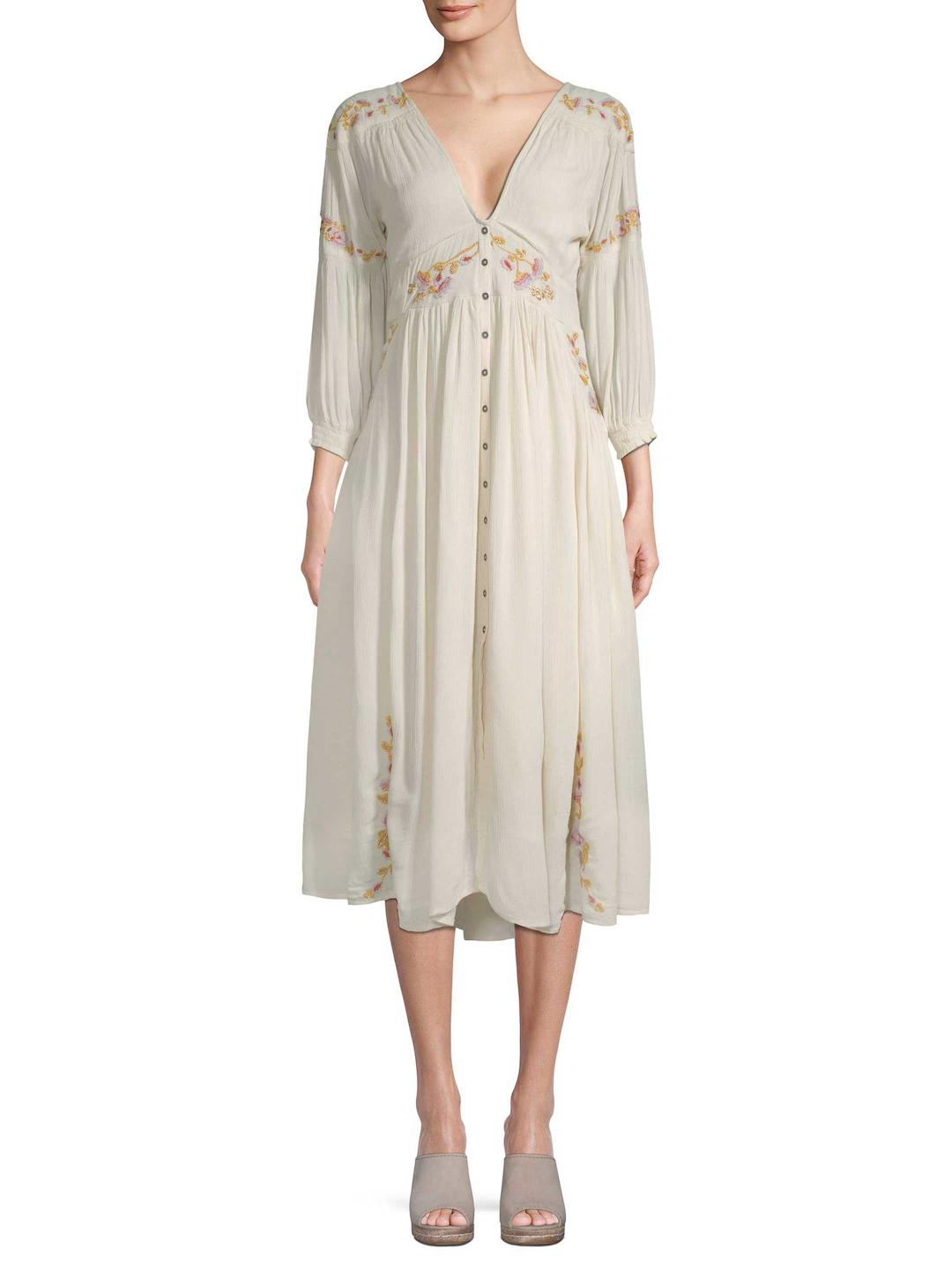7207ba484a14 Free People Day Glow Embroidered Midi in Natural - Lyst