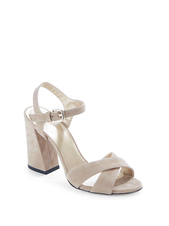 Stuart Weitzman Block Heel Leather Sandals W8PdcshgR