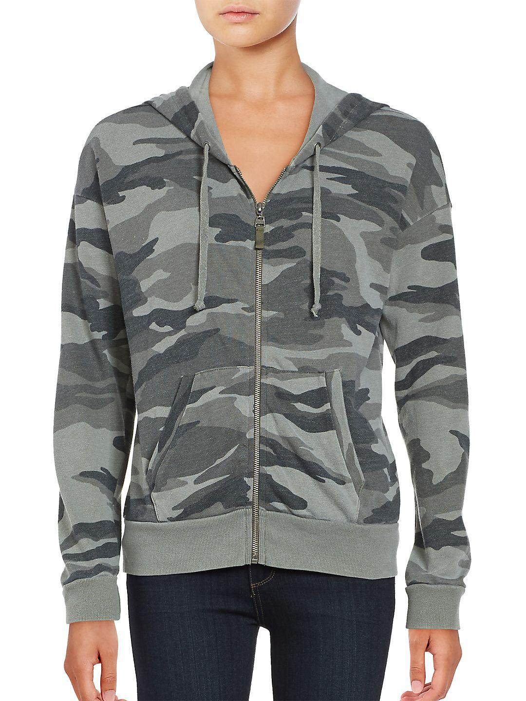 Ella Moss. Women's Green Zip-front Camouflage Hoodie