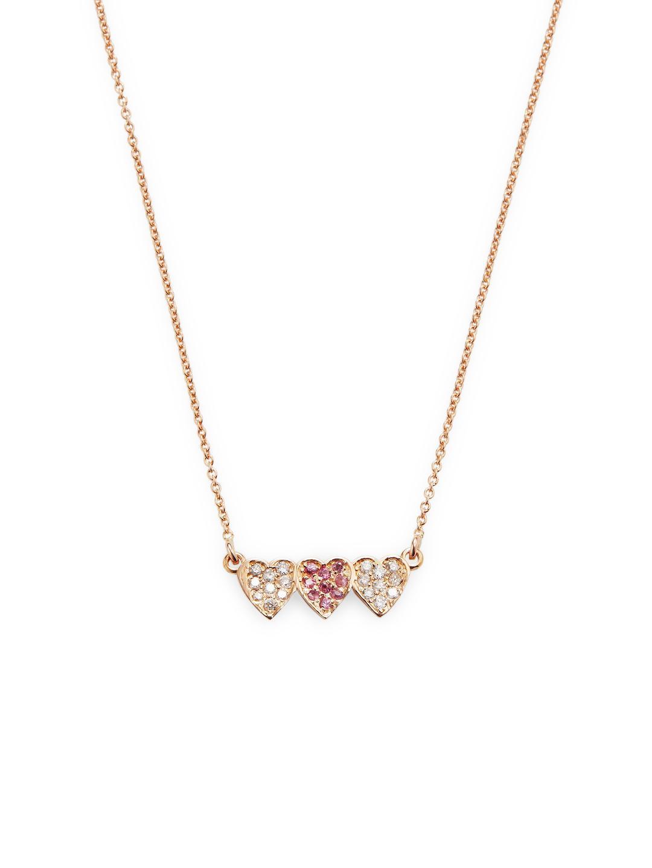 Jennifer Meyer Womens Pavé Heart Charm Necklace E5dozXw