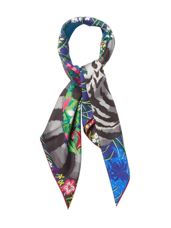3003b1958e3a ... real lyst hermès vintage hermes tiger scarf 90 in blue 20383 c8708