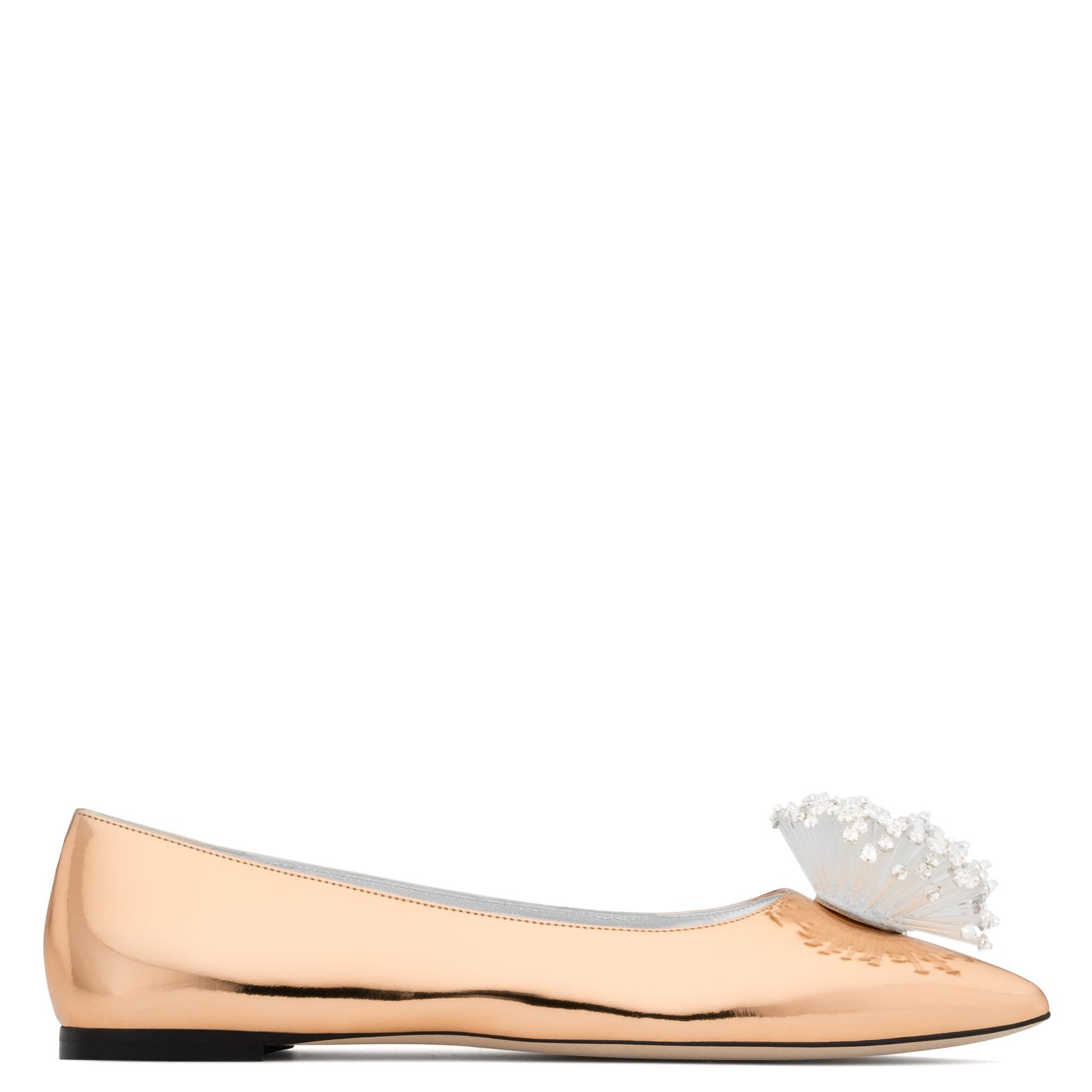 Giuseppe Zanotti Rose mirrored patent leather ballerina flat with accessory NANCIE SUPERNOVA nXJCkQFh