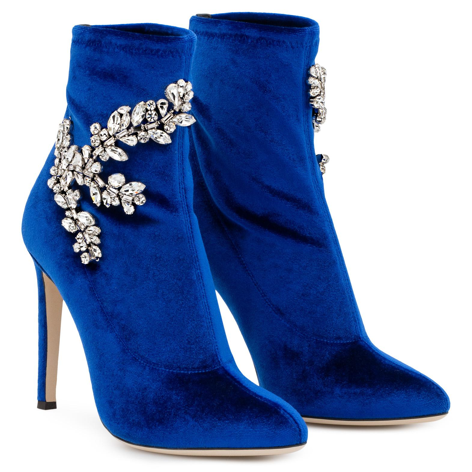 Giuseppe Zanotti Velvet stretch fabric boot with crystals CELESTE CRYSTAL