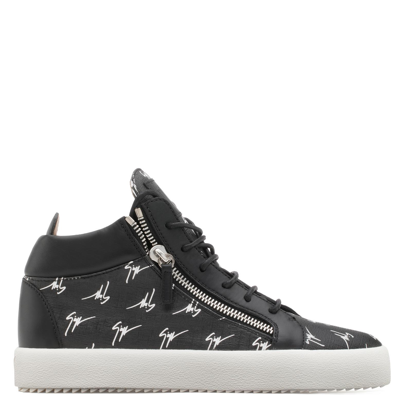 Giuseppe Zanotti Fabric mid-top sneaker with white logo motif THE SIGNATURE TPwbegi3CV