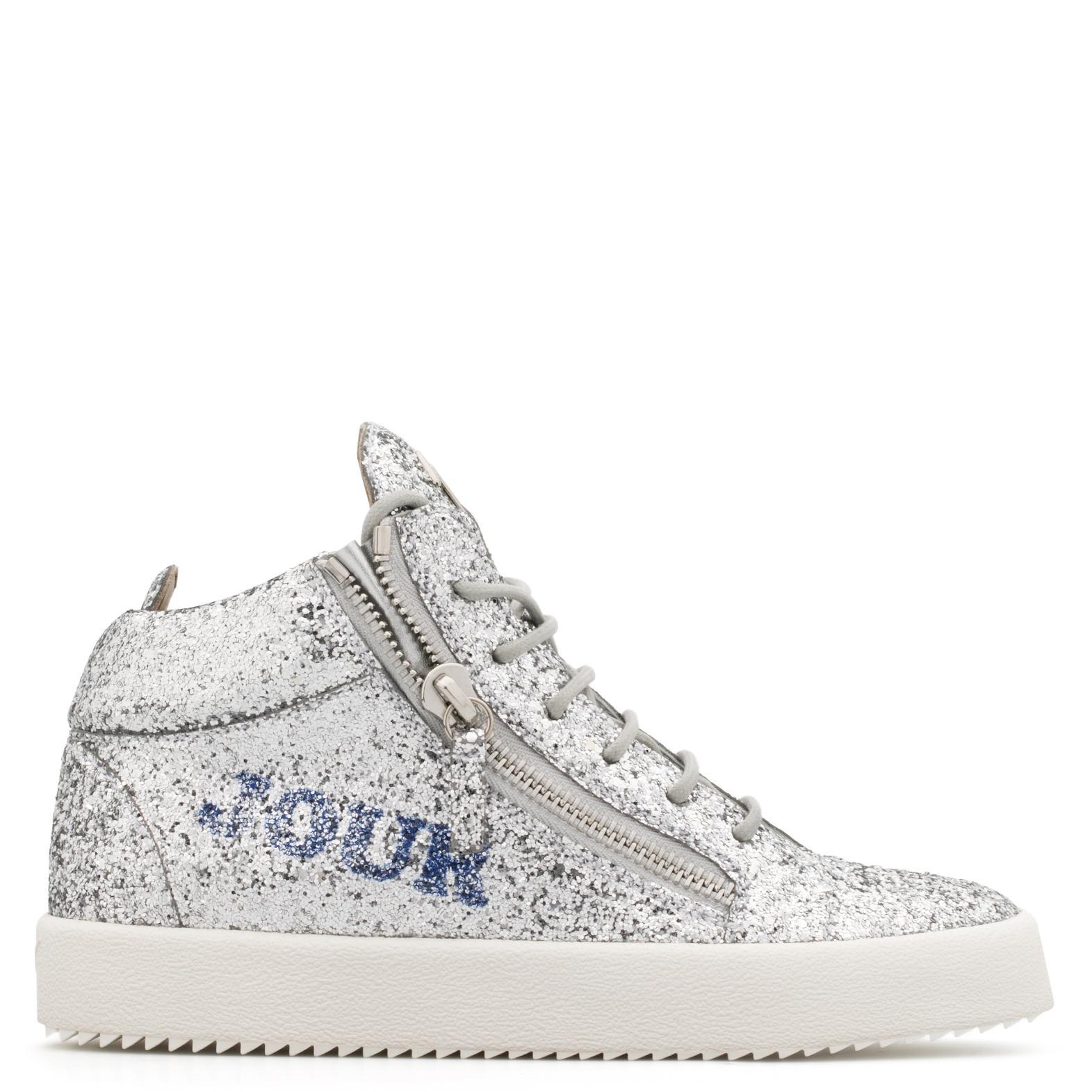 Giuseppe Zanotti Glitter low-top sneaker with 'Bonjour Nuit' motif BONJOUR NUIT Zx4K6OvmzQ