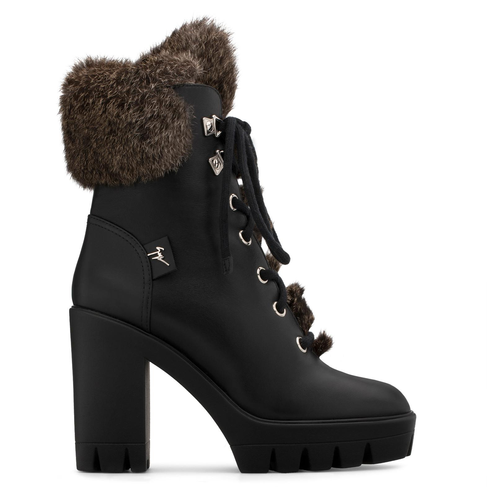 Giuseppe Zanotti Calfskin leather boot with lapin fur inside FREEDA jThpt4m