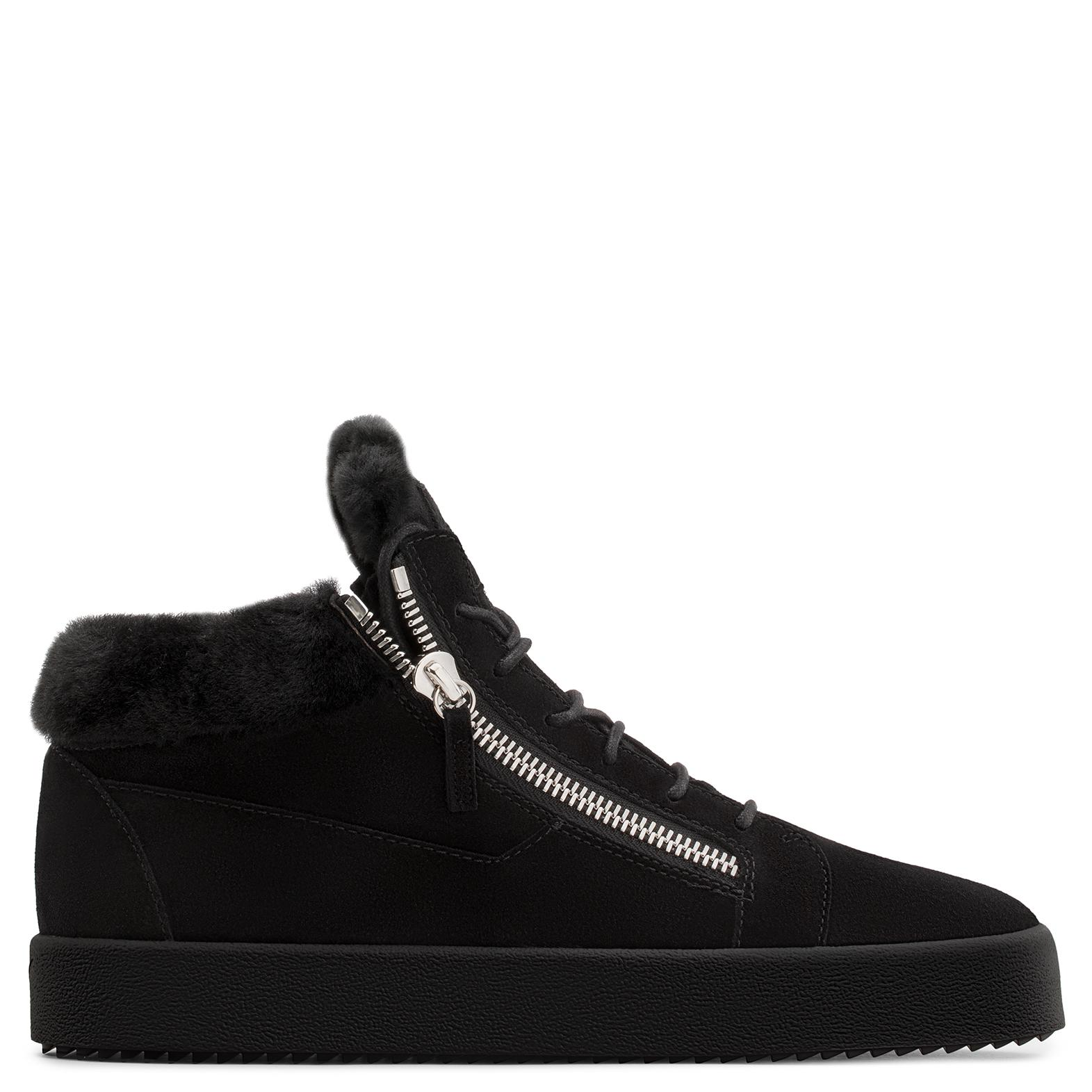 Giuseppe Zanotti Calf suede mid-top sneaker with fur inserts KRISS YbUITL