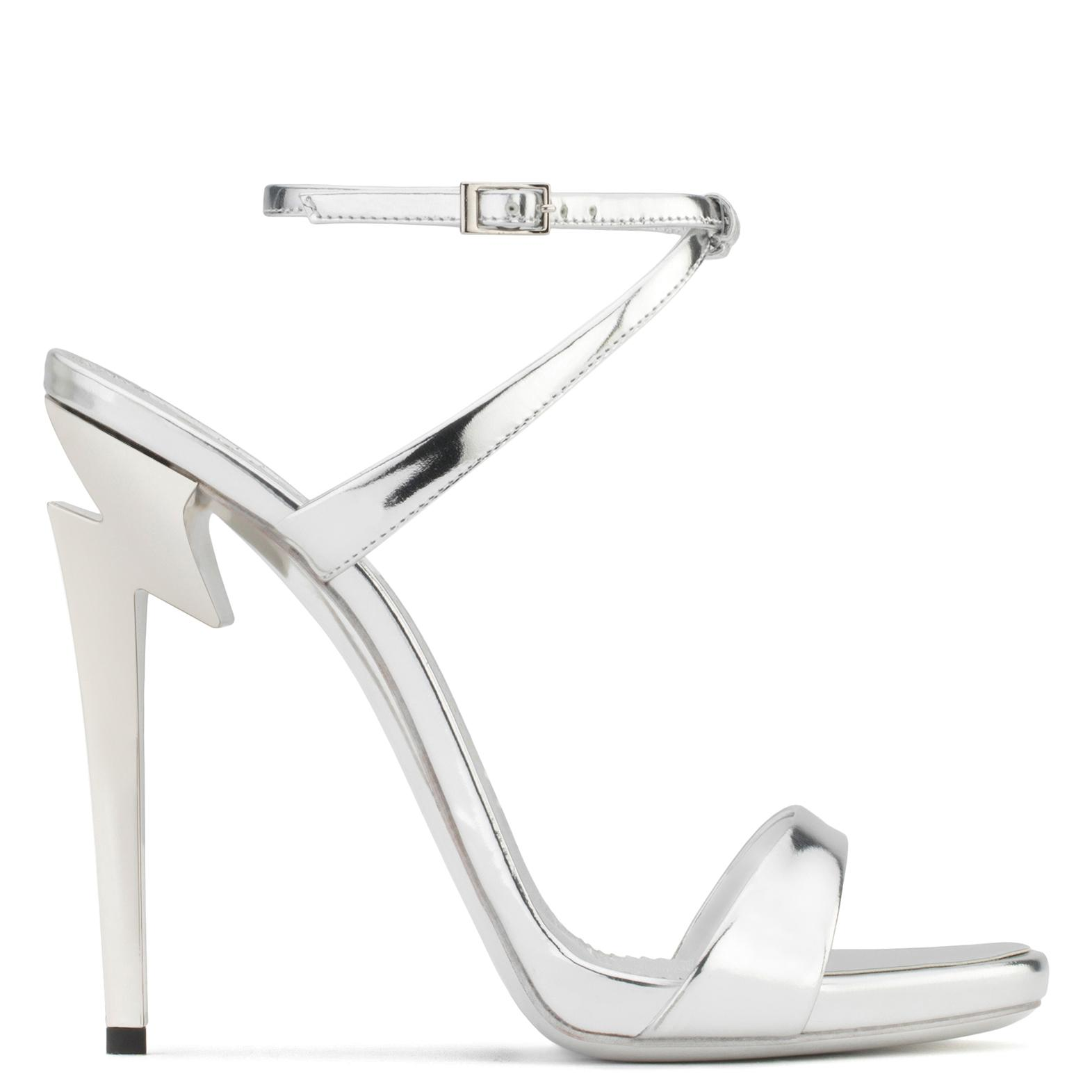 Giuseppe Zanotti Mirrored patent leather sandal with 'sculpted' heel G-HEEL 254SX