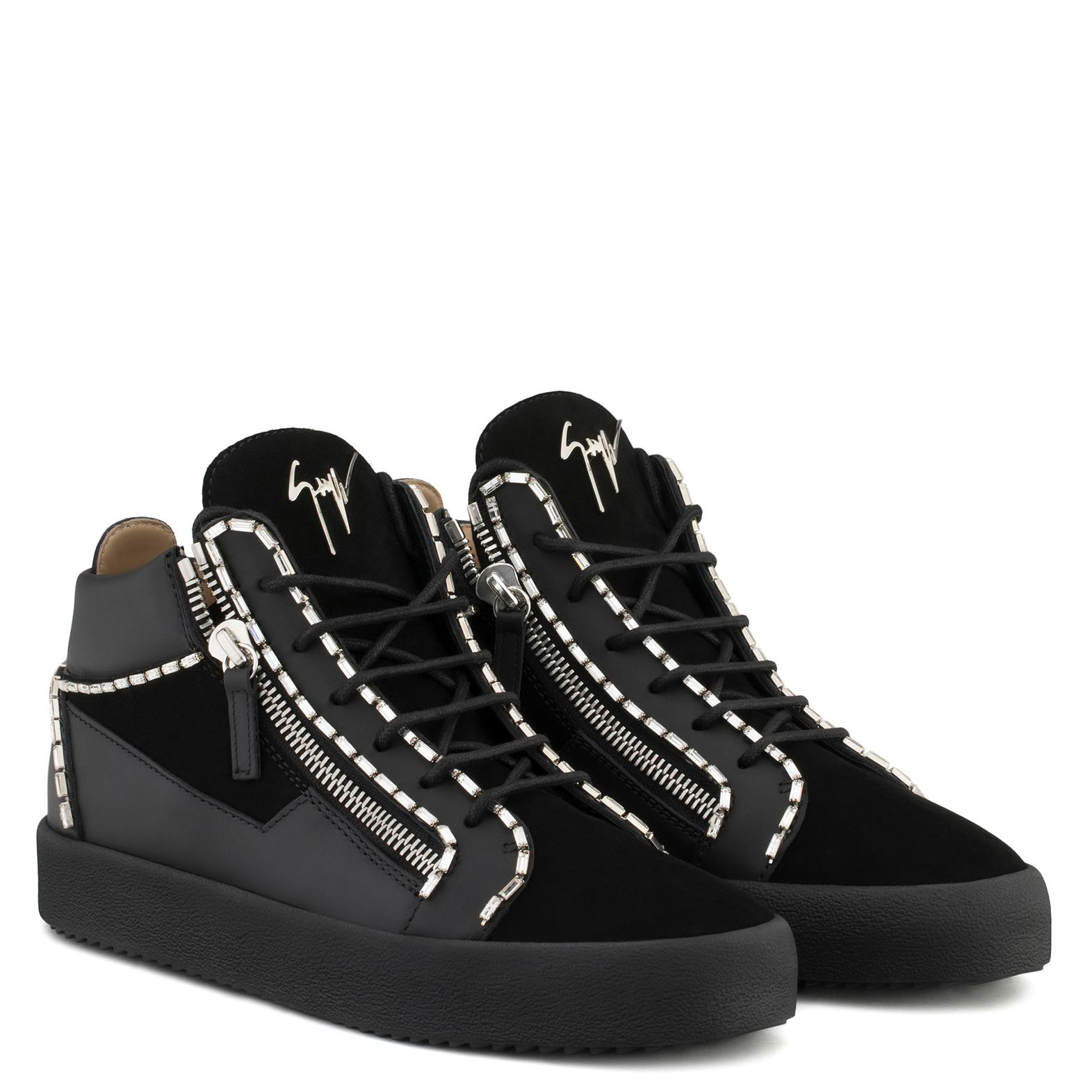 Giuseppe Zanotti Calf leather and suede mid-top sneaker with crystals CRAIG UuzOa