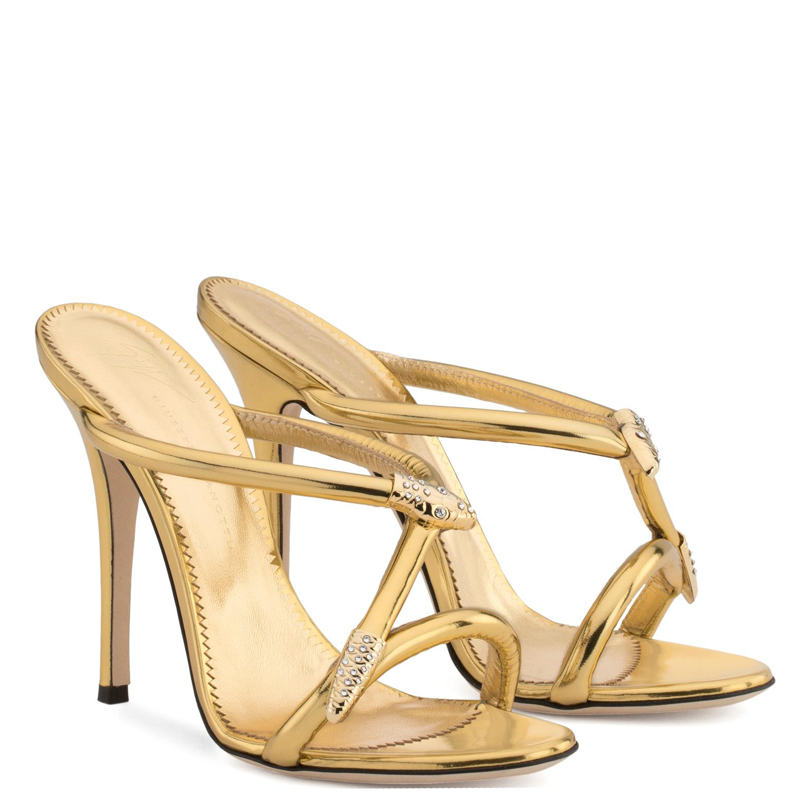 Giuseppe Zanotti Laminated leather sandal with snake accessory ALEESHA FWPJK