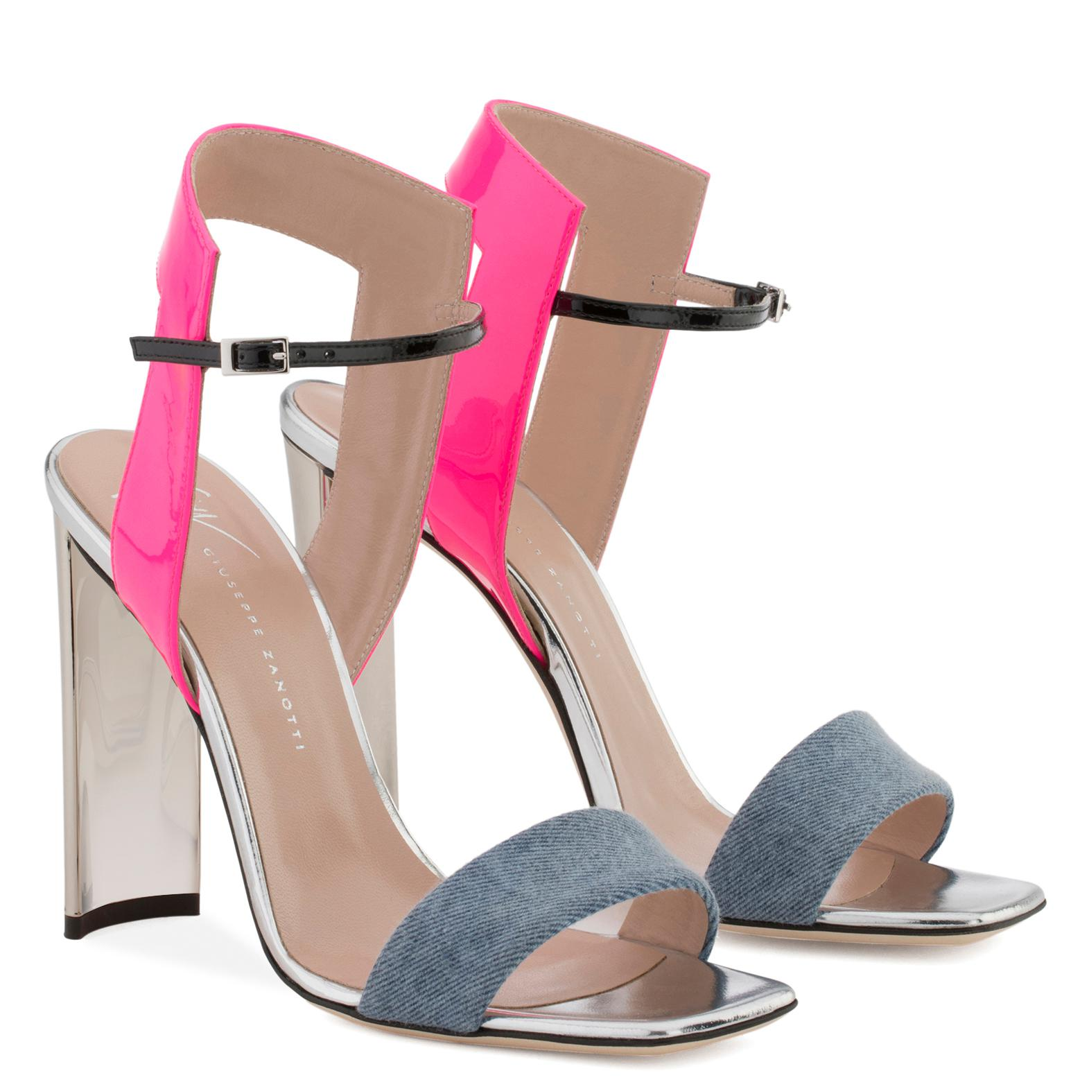 Giuseppe Zanotti Blue denim and leather sandal with chunky mirrored heel BRIELLE