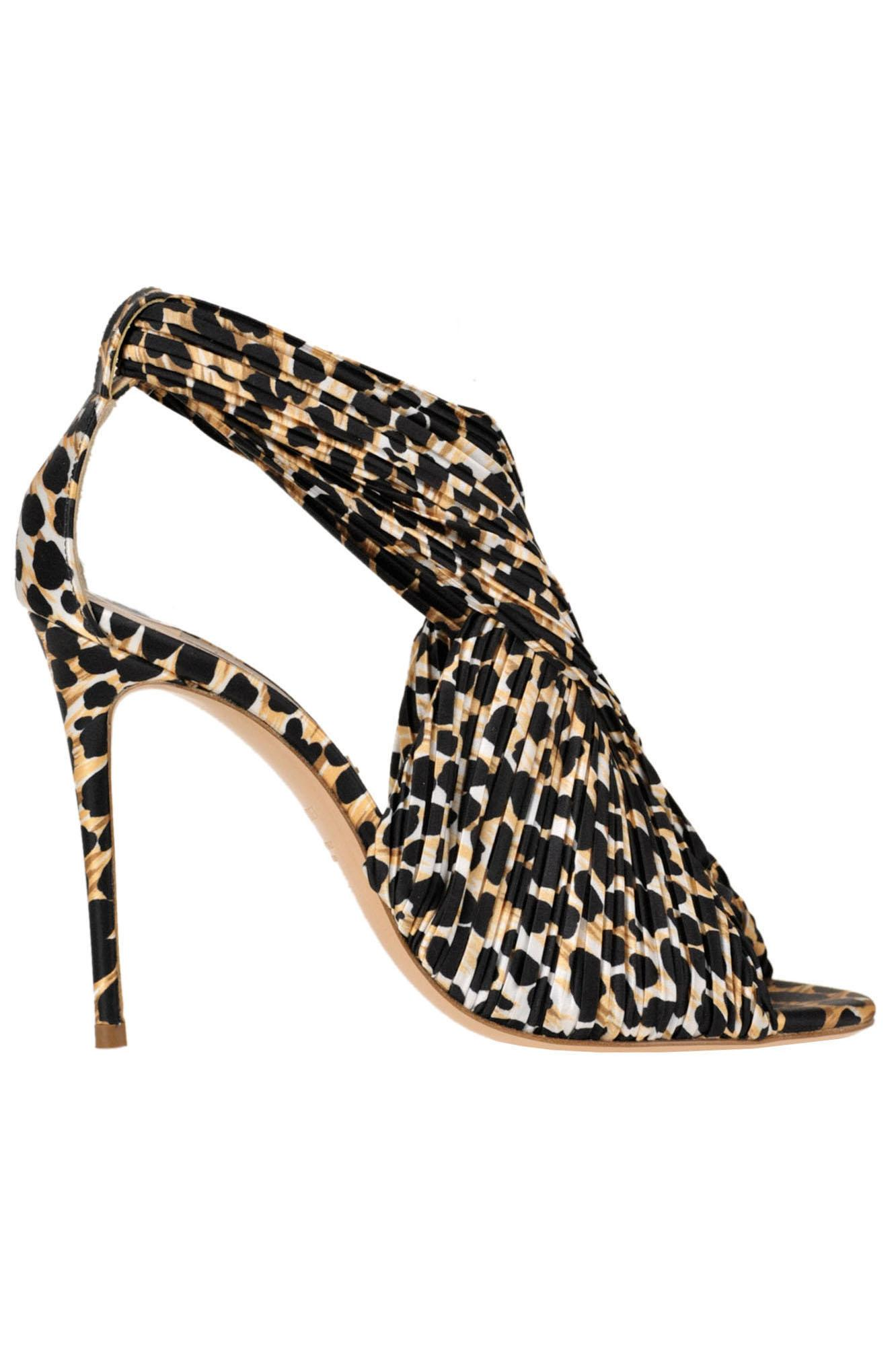 6eaaf25001 Casadei Animal Print Satin Sandals in Natural - Lyst