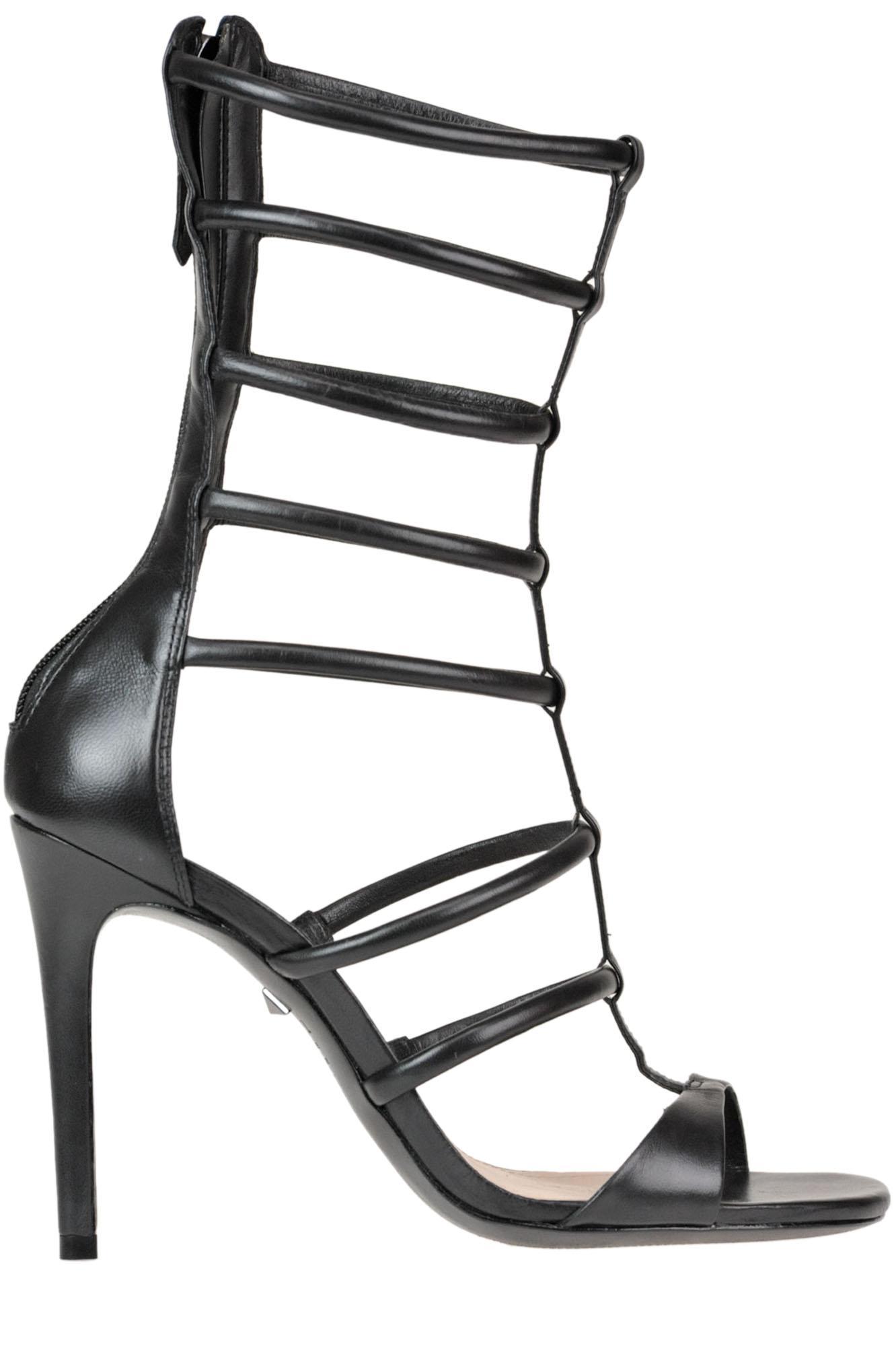 80d61de280f490 Schutz Leather Gladiator Sandals in Black - Lyst