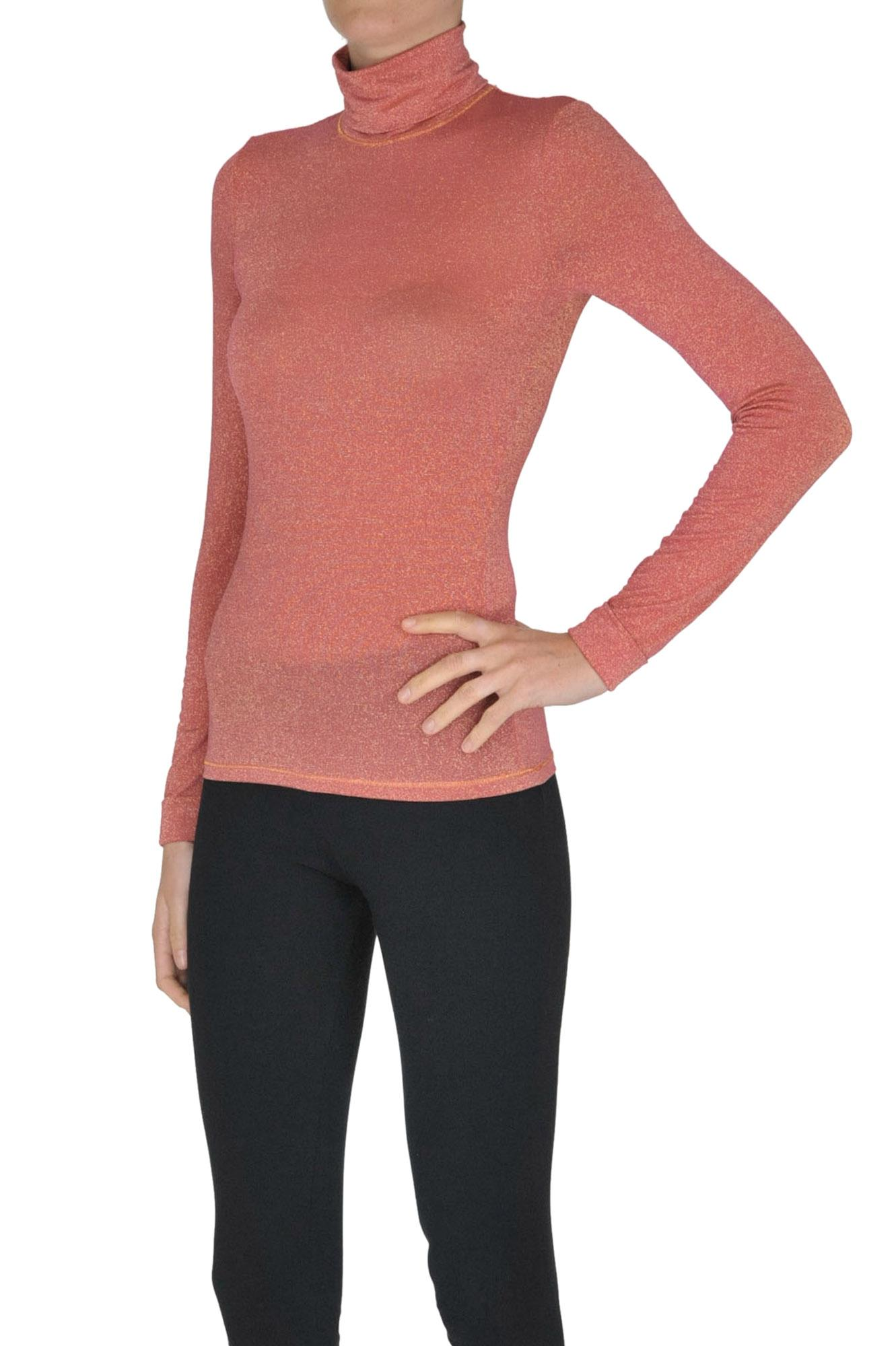 599d11140f Patrizia Pepe Lurex Turtleneck T-shirt in Pink - Lyst