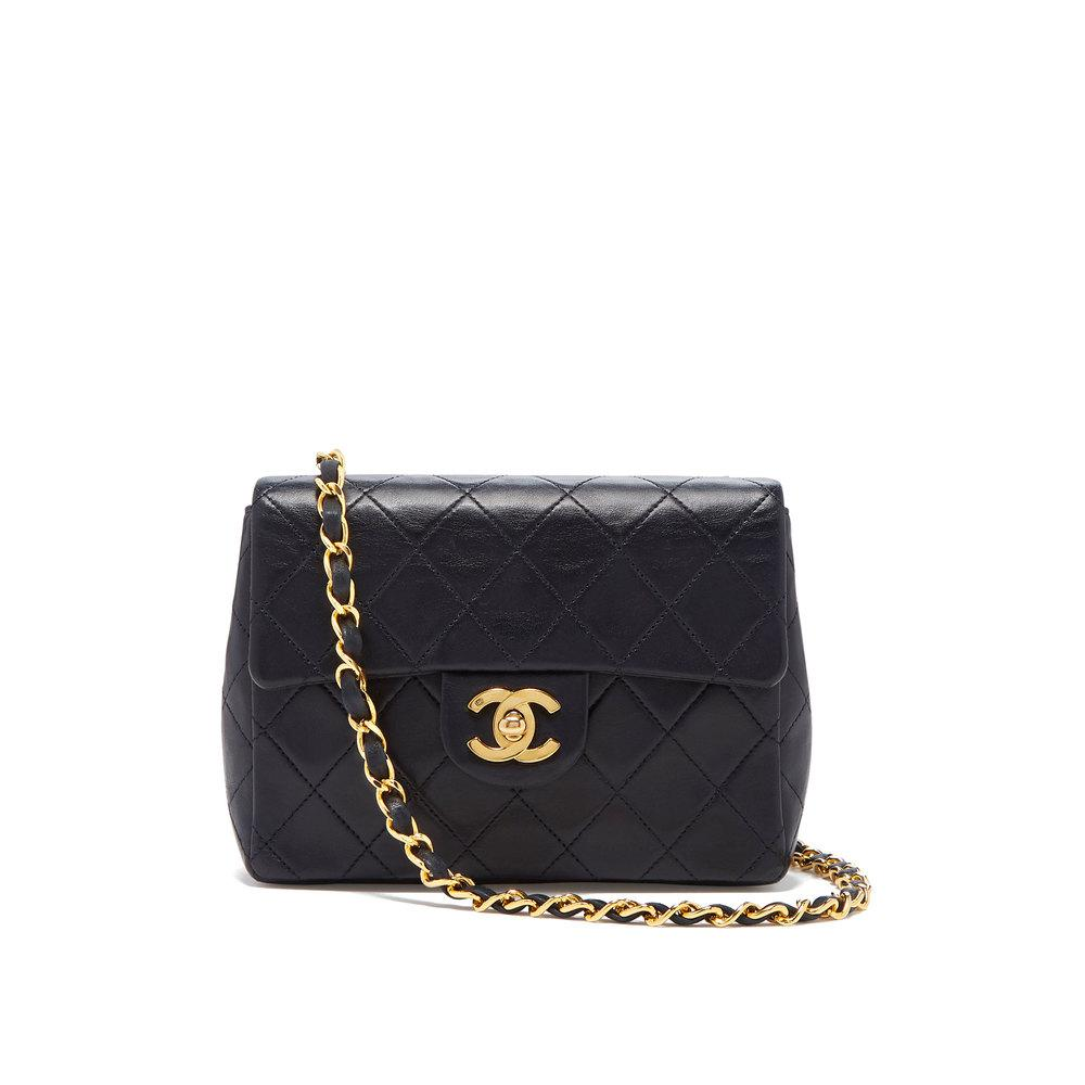 72d5c959fef1bd Lyst - What Goes Around Comes Around Chanel Navy Lambskin Mini Flap ...