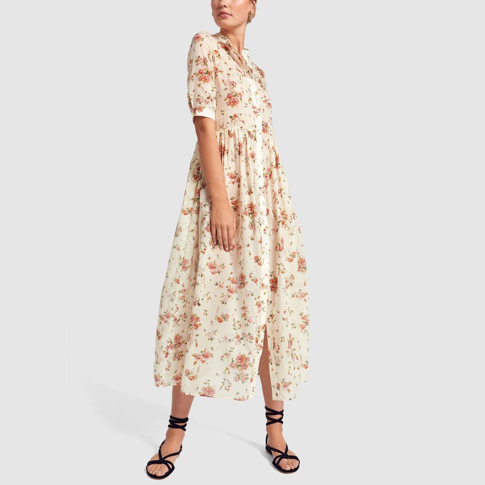Dress Flores Printed Stylebop Collection Cotton Brock Floral Dean beige El QdrshtxC