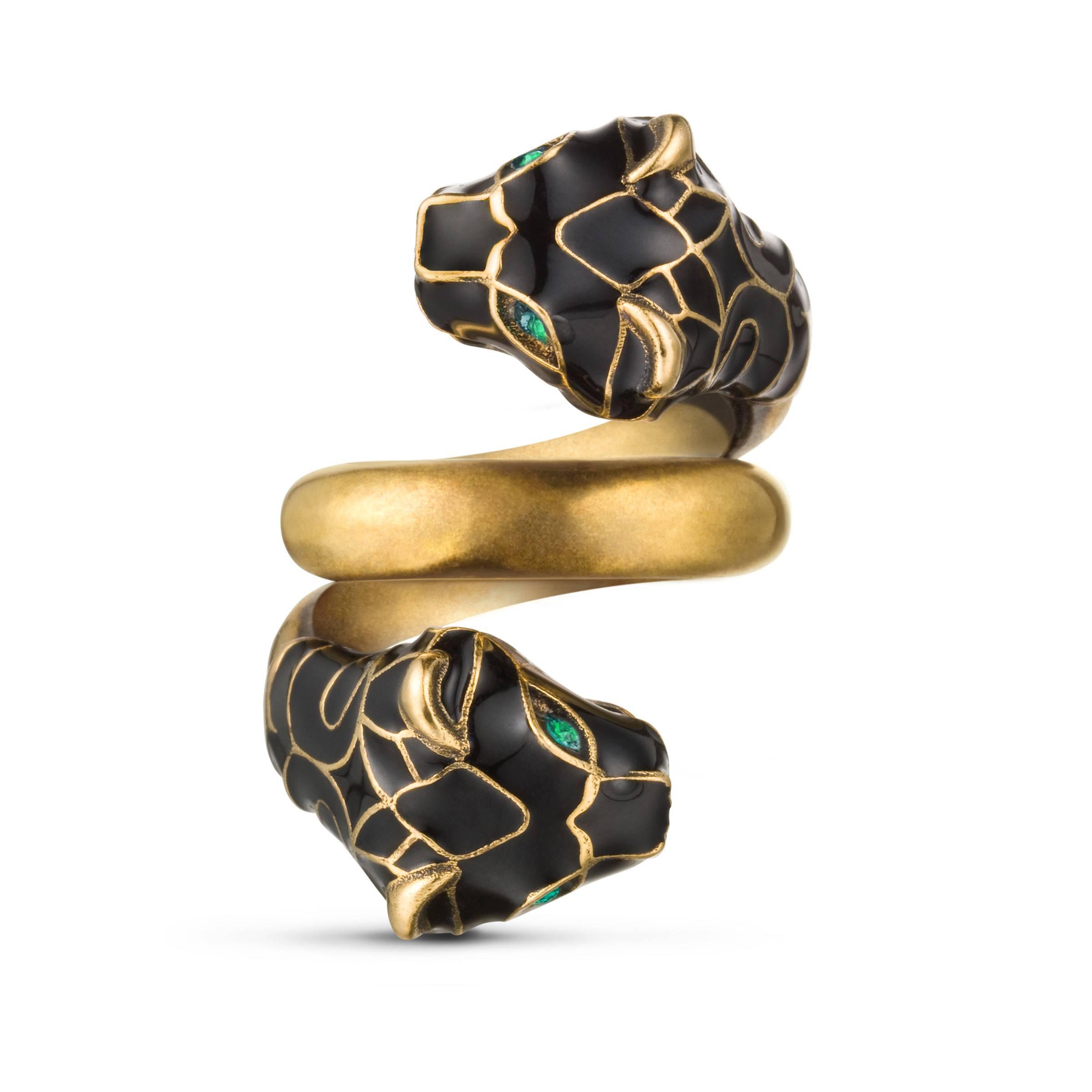 7d36b918a0 Lyst - Gucci Ring mit Tigerkopf mit schwarzem Email in Schwarz ...