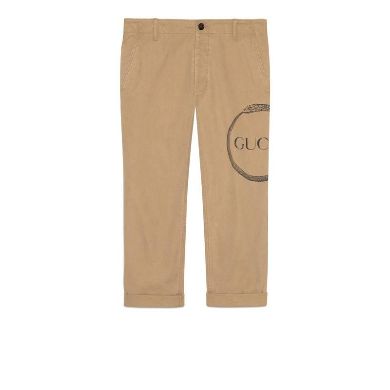 fd2046c3f1d Lyst - Gucci Ouroboros Print Cotton Chino in Natural for Men