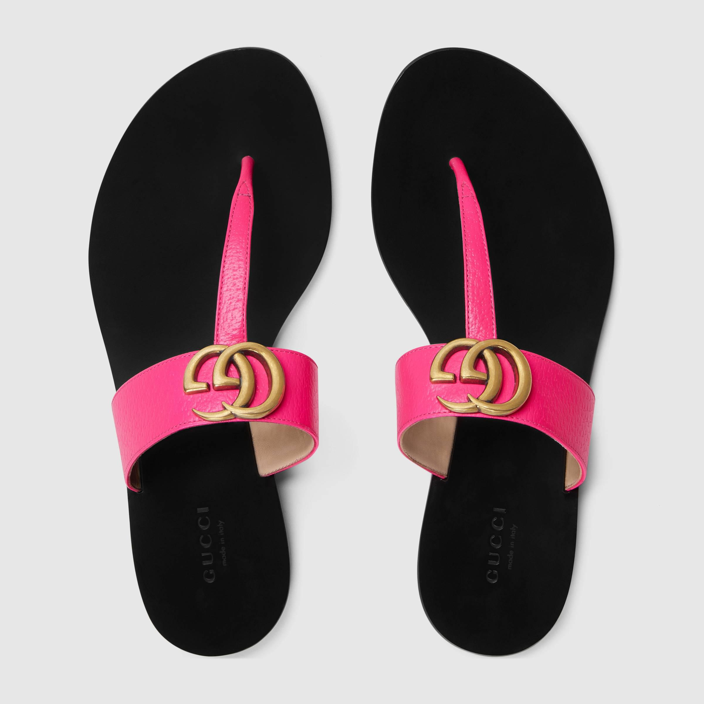 5ee7c08640e97 Gucci - Multicolor Leather Thong Sandal With Double G - Lyst. View  fullscreen