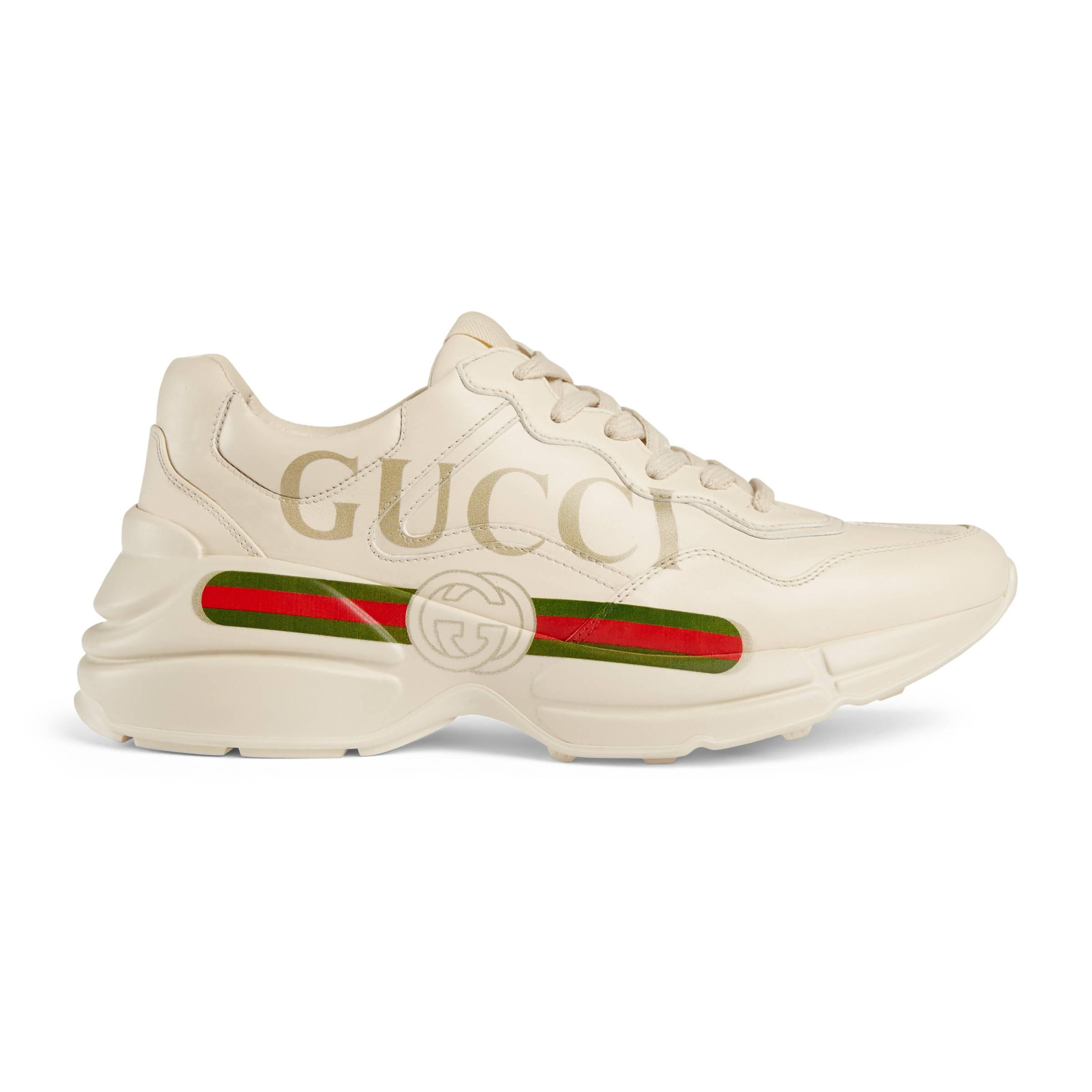 2ae532801 Gucci - White Rhyton Logo Leather Sneaker - Lyst. View fullscreen
