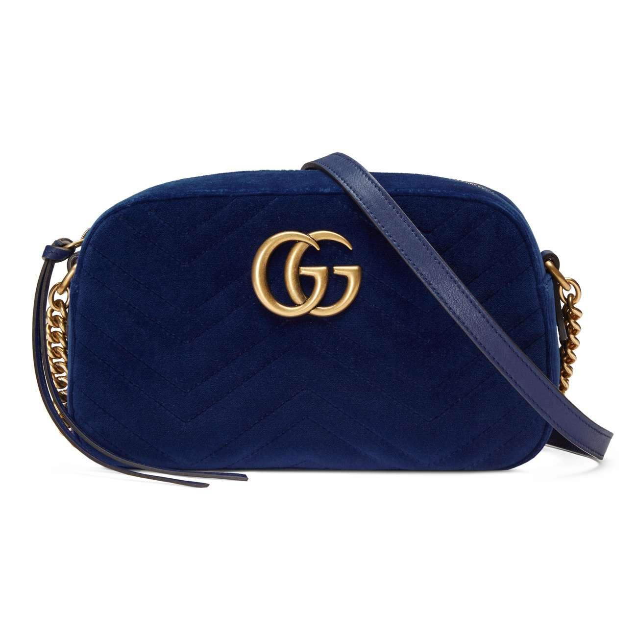 6f03580cc79a Gucci GG Marmont Velvet Small Shoulder Bag in Blue - Save 22% - Lyst