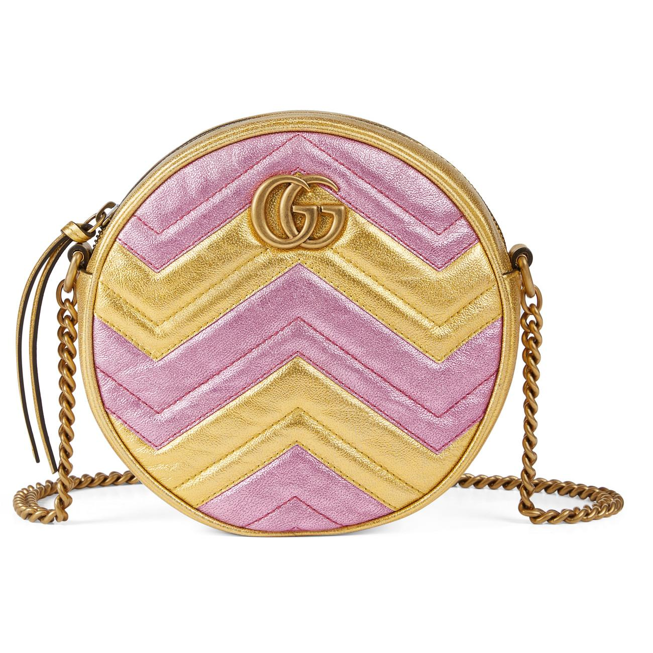 dcba3d5e9 Gucci Gg Marmont Mini Round Shoulder Bag in Pink - Lyst