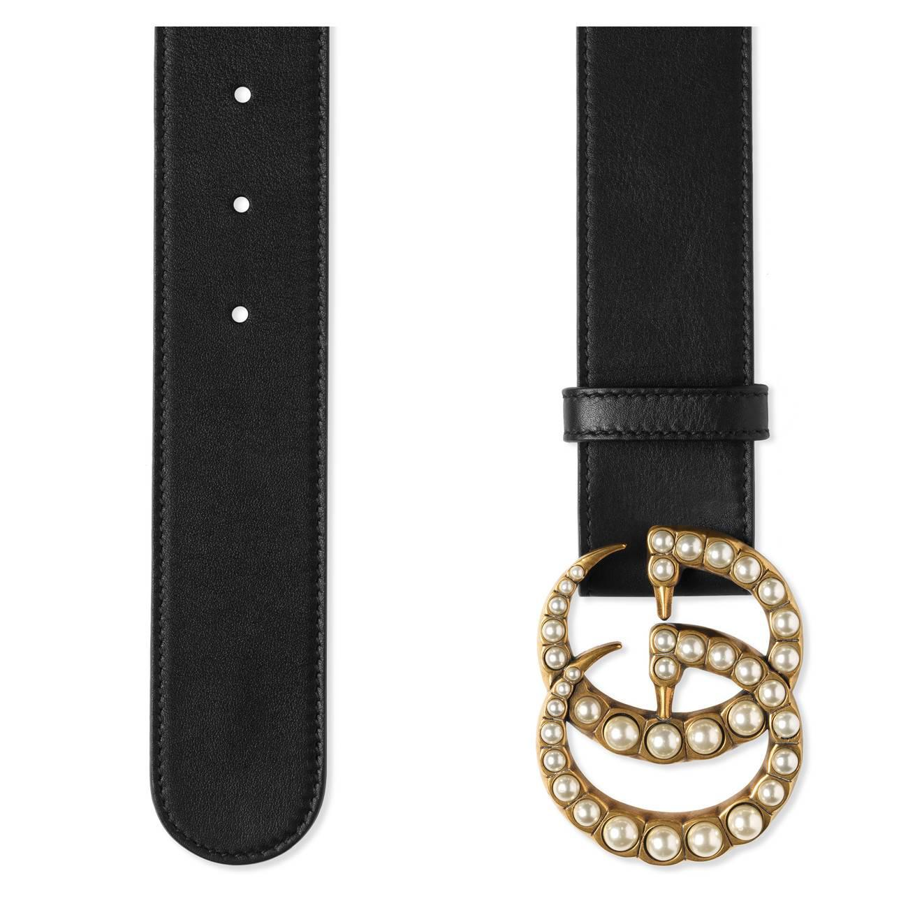 cf96ba9d936 Gucci - Black Leather Belt With Pearl Double G - Lyst. View fullscreen
