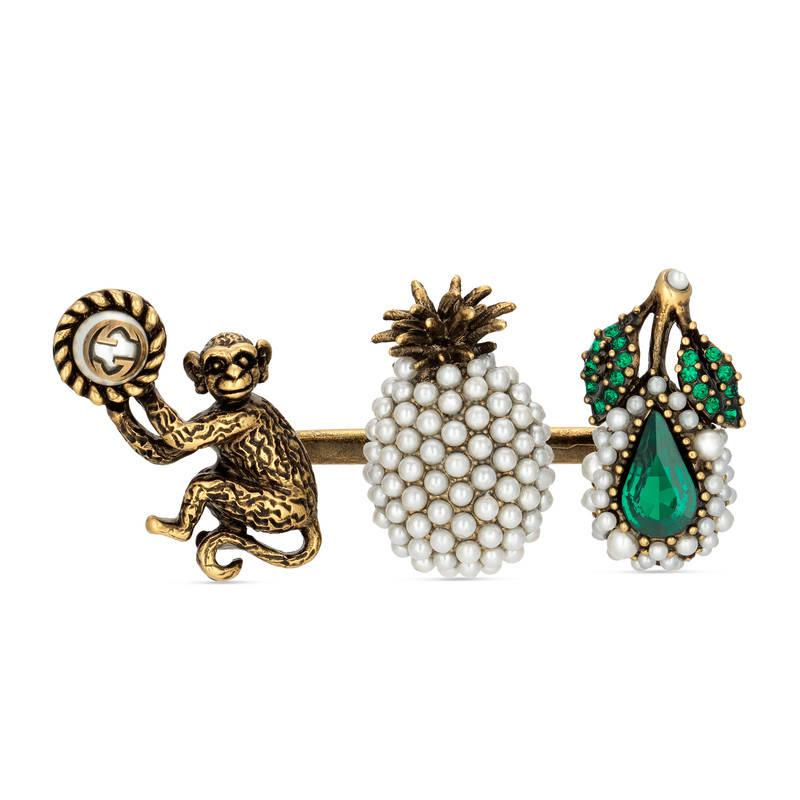 Trio ring with fruit and monkey motif Gucci h9G7YPYzp