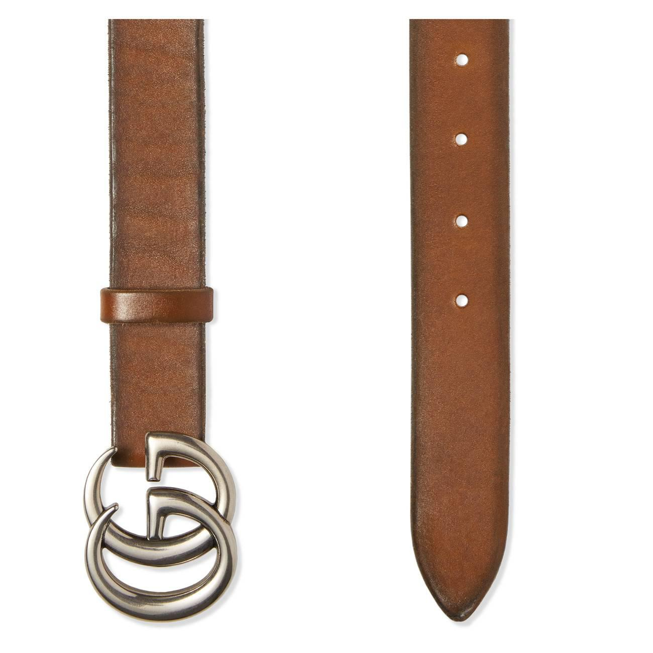 44659e0af94 Gucci - Brown Leather Belt With Double G Buckle for Men - Lyst. View  fullscreen