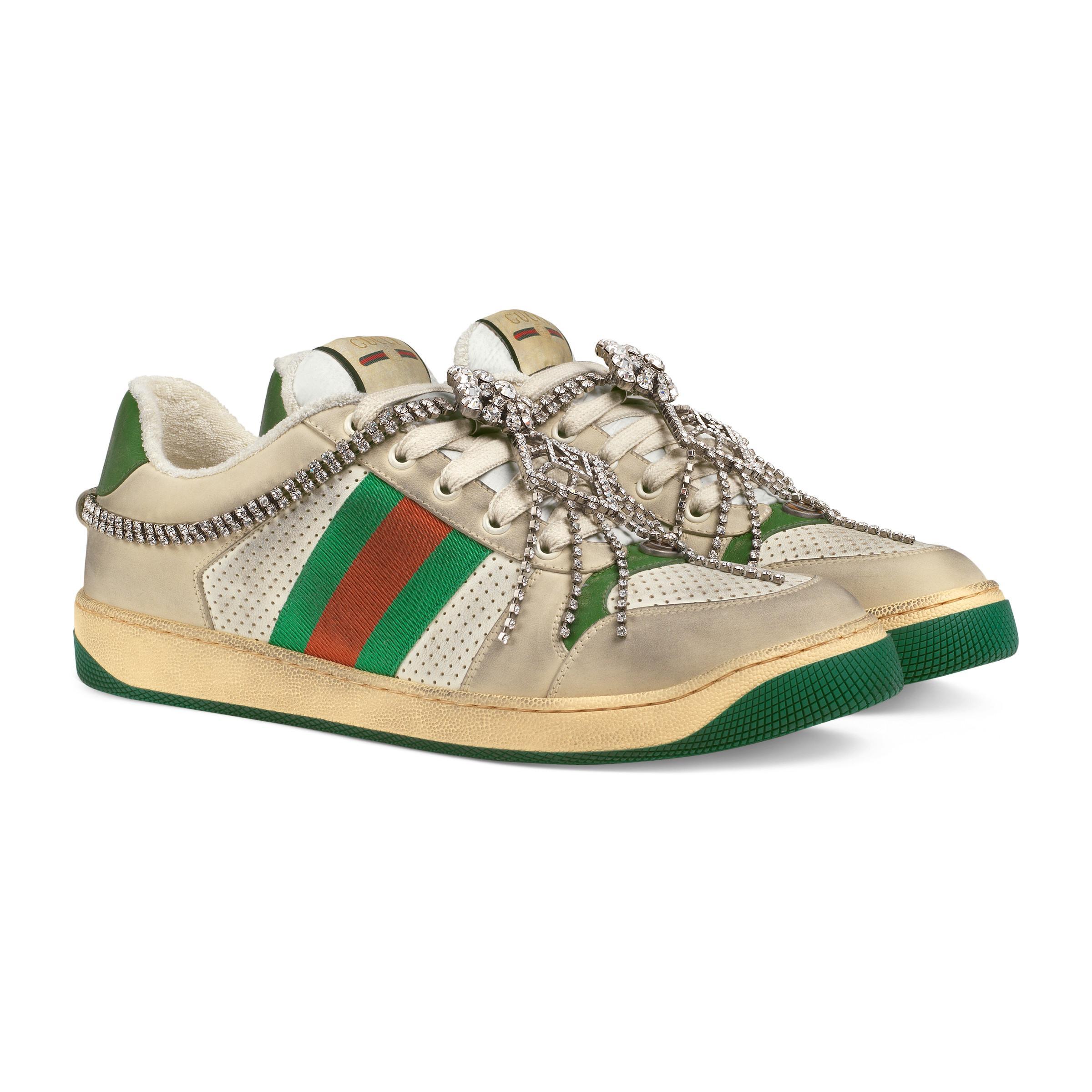 15b9baaa4bd Gucci Screener Jewel Sneaker in Green for Men - Save 15% - Lyst