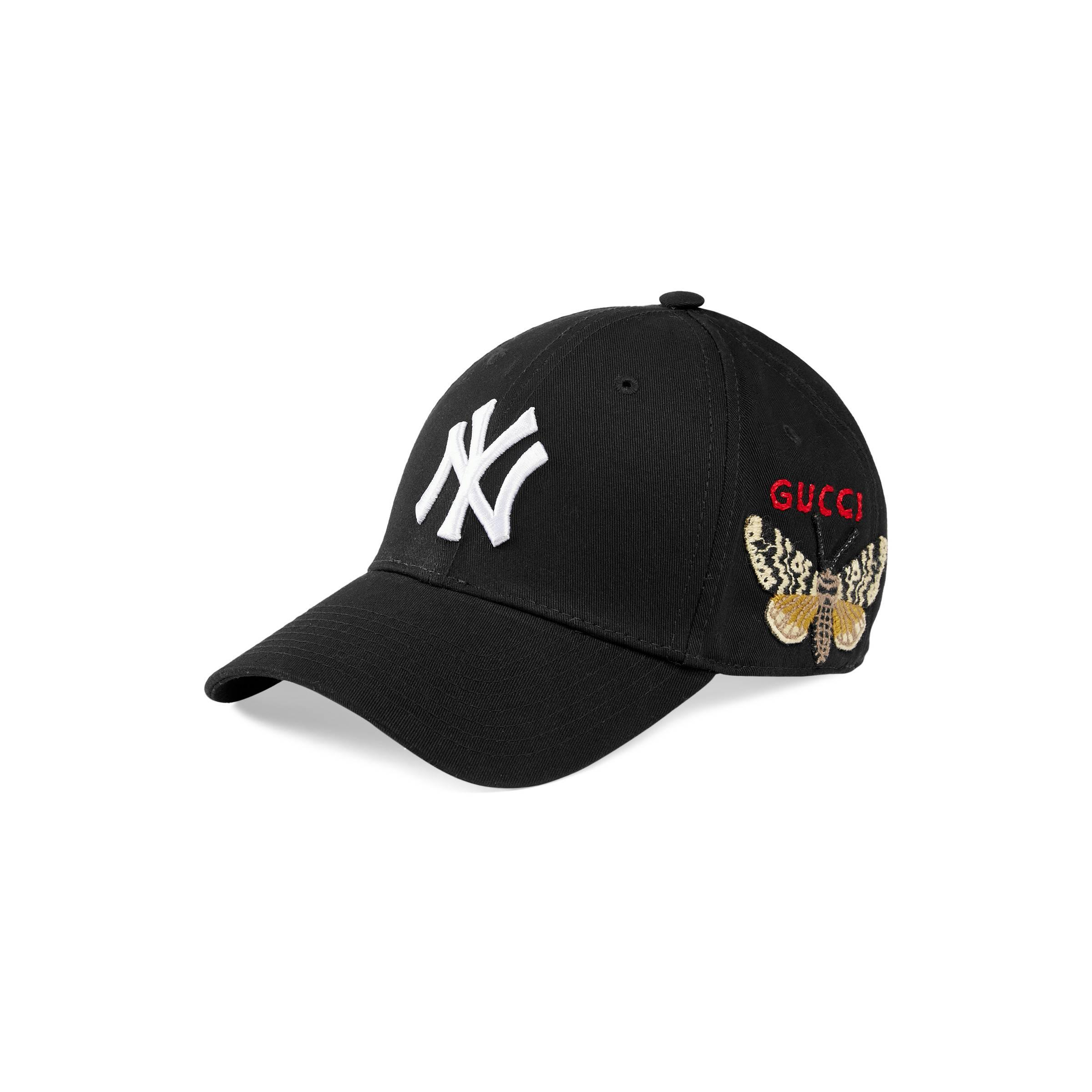 850a6119e7f Gucci - Black Baseball Cap With Ny Yankeestm Patch for Men - Lyst. View  fullscreen