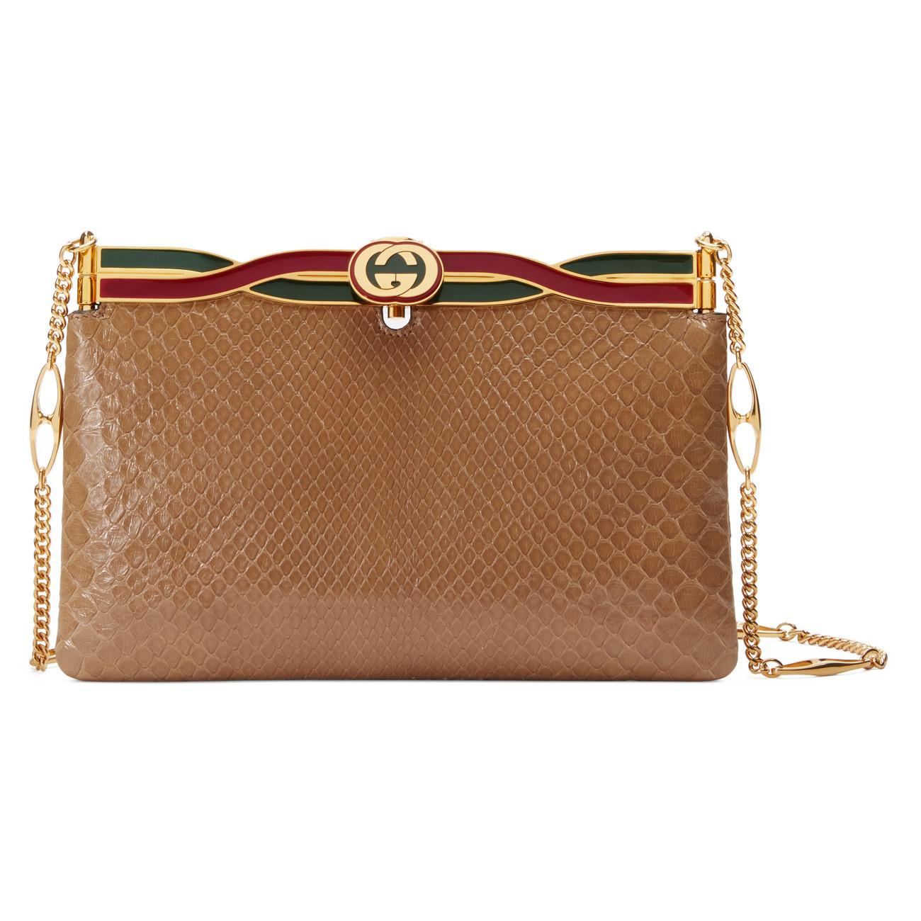14d1d32b800c Lyst - Gucci Broadway Snakeskin Evening Bag With Twisted Enamel