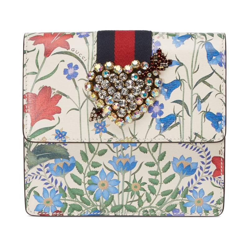 5e78a0ade Lyst - Gucci Totem New Flora Print Leather Clutch in White