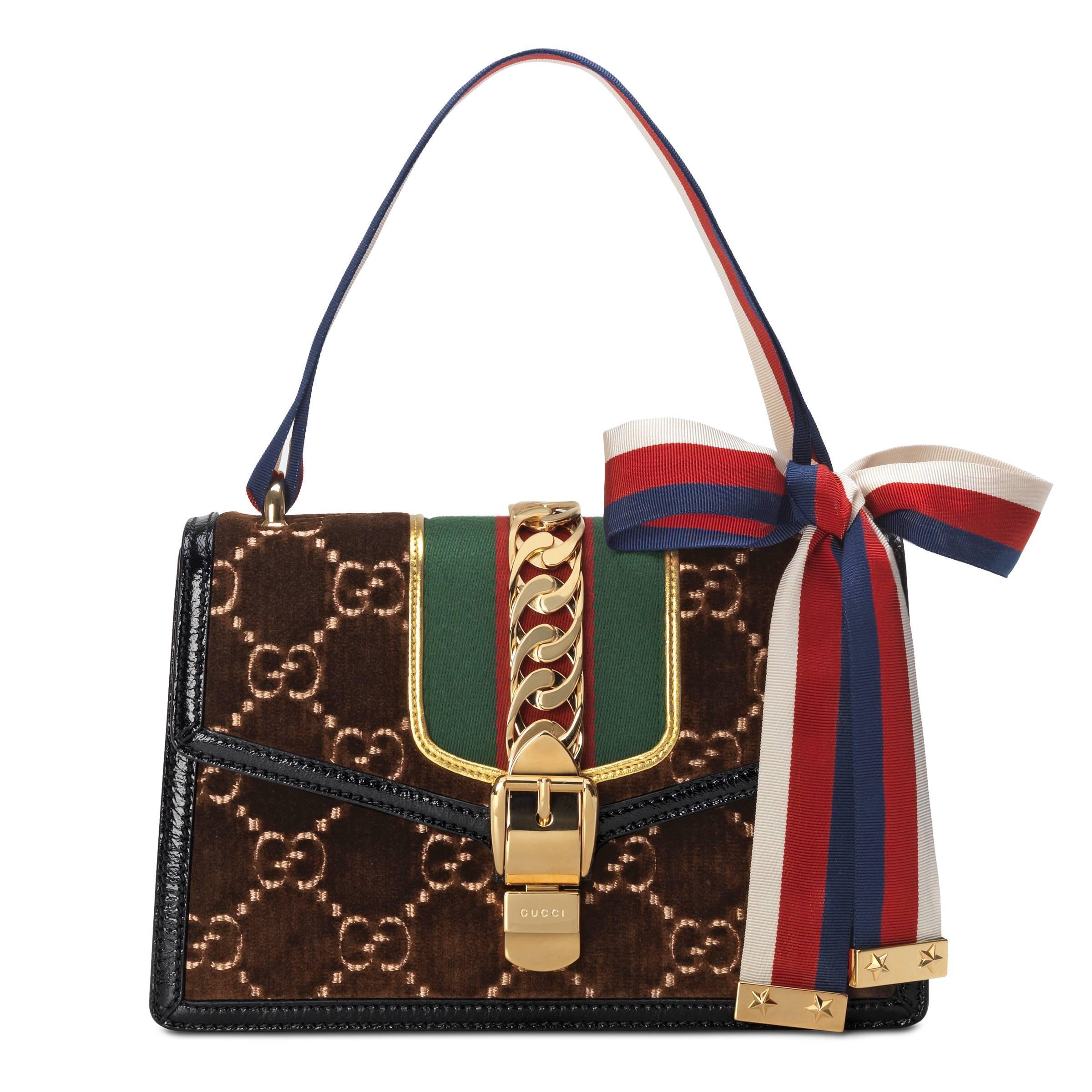 ff0d0b8c1 ... Brown Sylvie GG Velvet Small Shoulder Bag - Lyst. Visit Gucci. Tap to  visit site