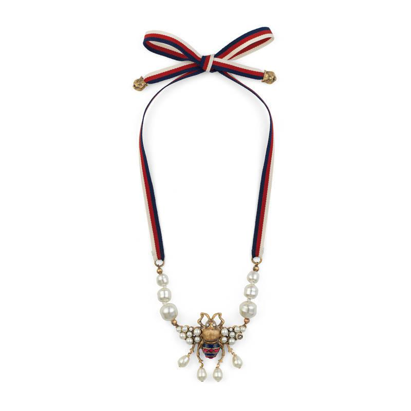 Gucci Bee necklace with crystals and pearls LABnkT