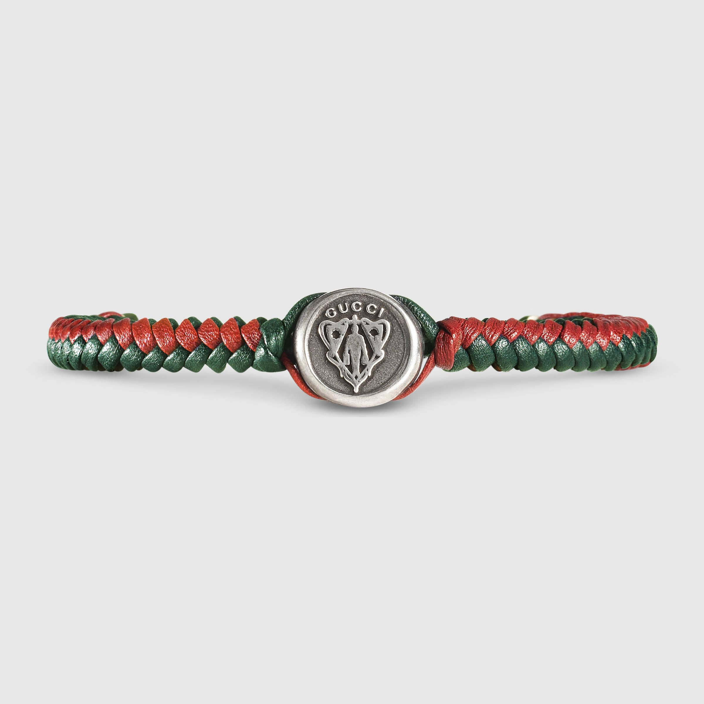 4059c6079 Gucci Woven Leather Bracelet in Red for Men - Lyst