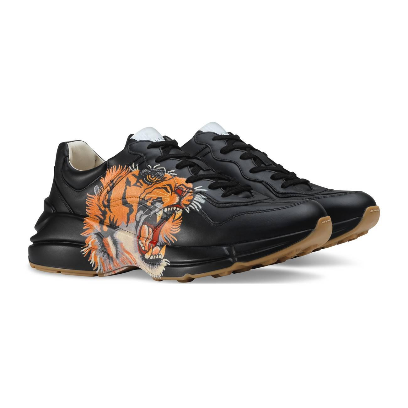 df13ded71f5 Gucci - Black Rhyton Leather Sneaker With Tiger for Men - Lyst. View  fullscreen
