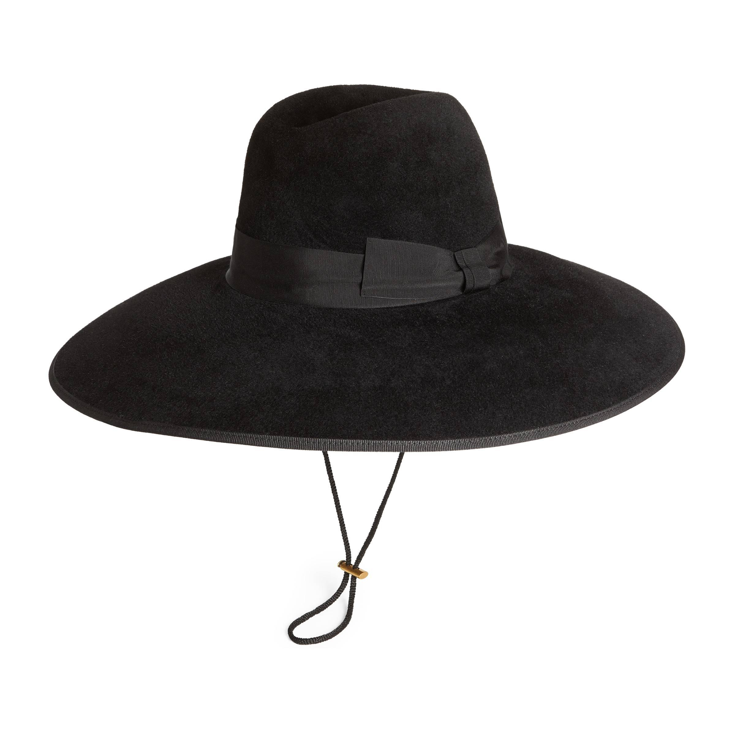 a8092f6ea Gucci Felt Wide Brim Hat in Black for Men - Lyst