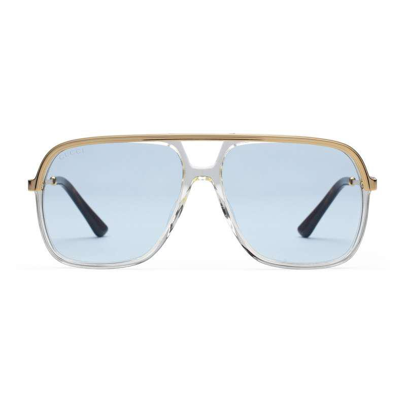 c72928c7667 Lyst - Gucci Rectangular-frame Metal Sunglasses in Blue for Men