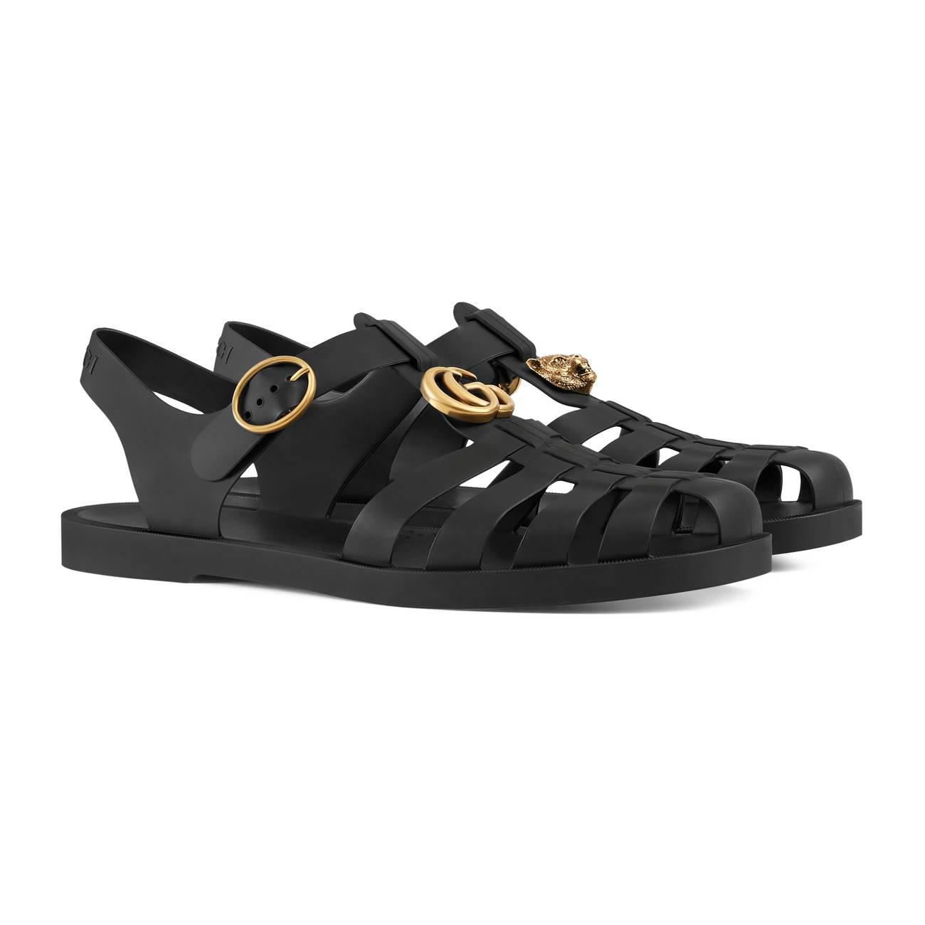 e24da1681 Gucci - Black Rubber Buckle Strap Sandal for Men - Lyst. View fullscreen
