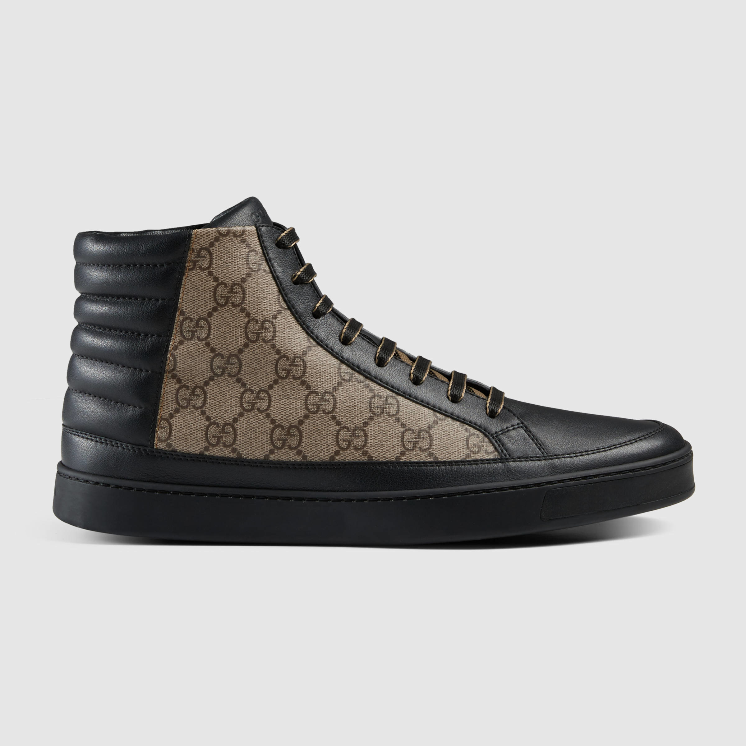 gucci gg supreme hi top sneakers in black for men lyst. Black Bedroom Furniture Sets. Home Design Ideas