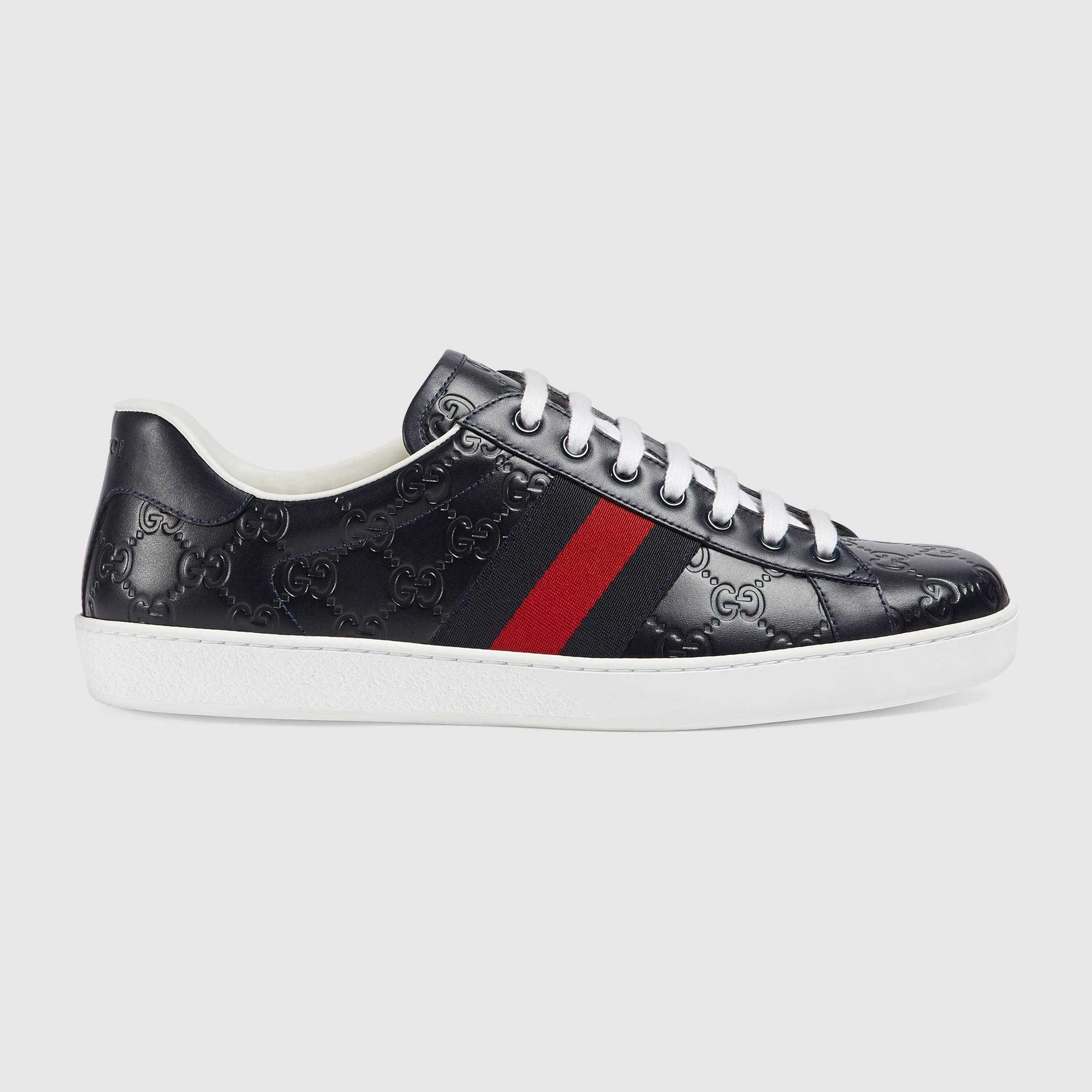 gucci ace signature low top sneaker in blue for men lyst. Black Bedroom Furniture Sets. Home Design Ideas